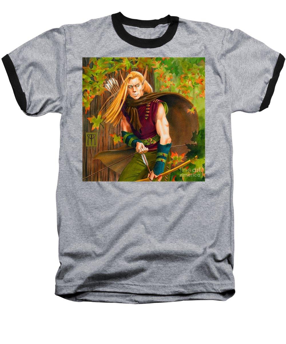 Elf Baseball T-Shirt featuring the painting Elven Hunter by Melissa A Benson