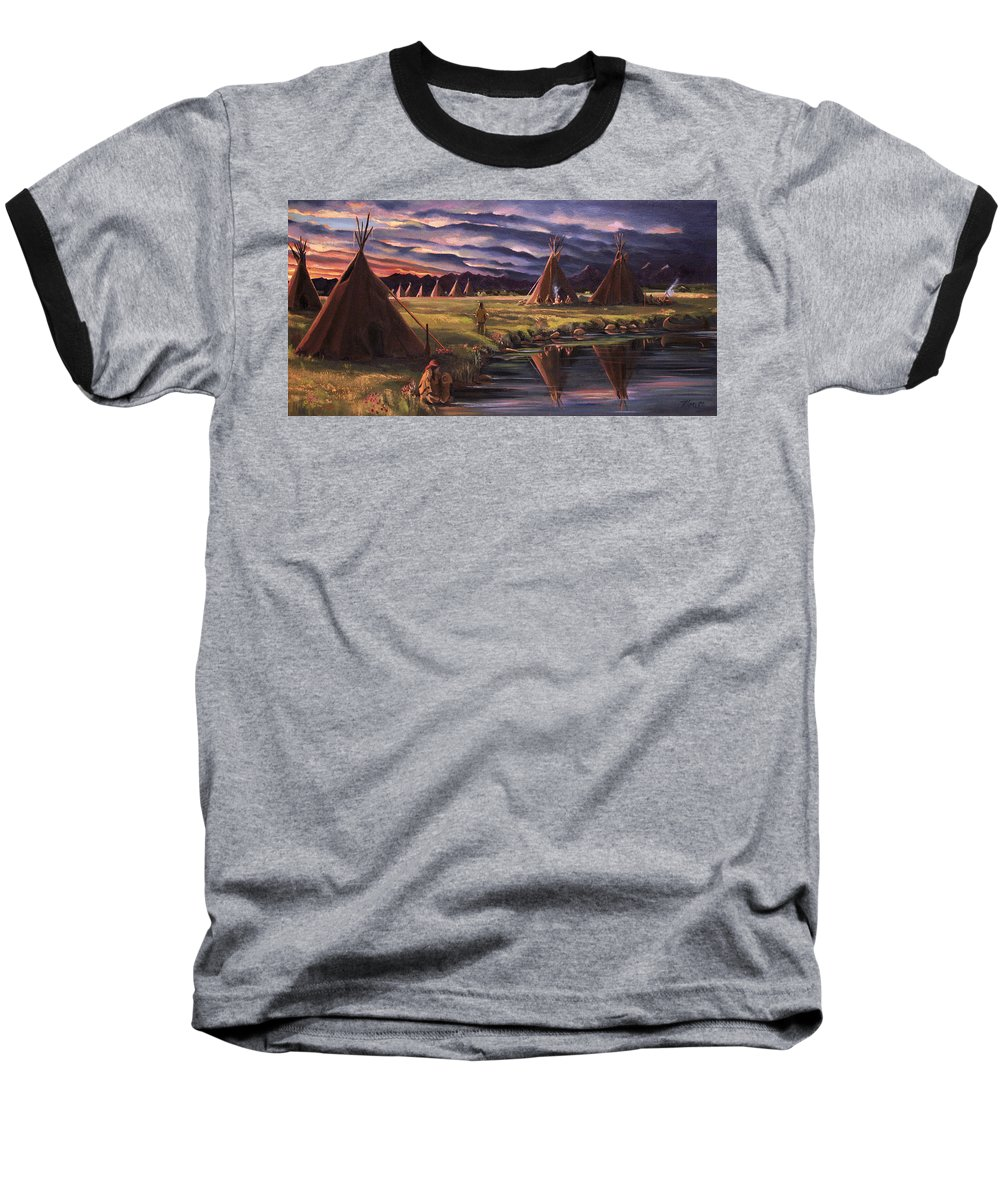 Native American Baseball T-Shirt featuring the painting Encampment At Dusk by Nancy Griswold