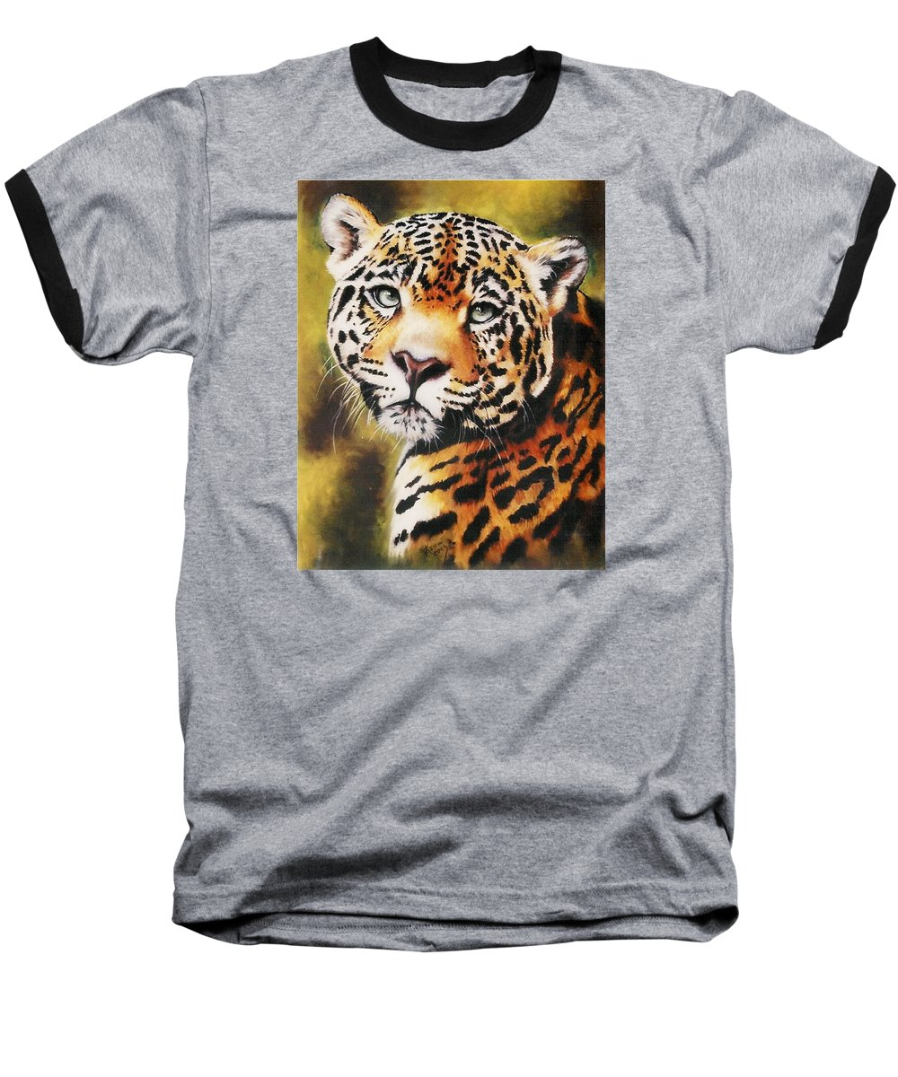 Jaguar Baseball T-Shirt featuring the pastel Enchantress by Barbara Keith
