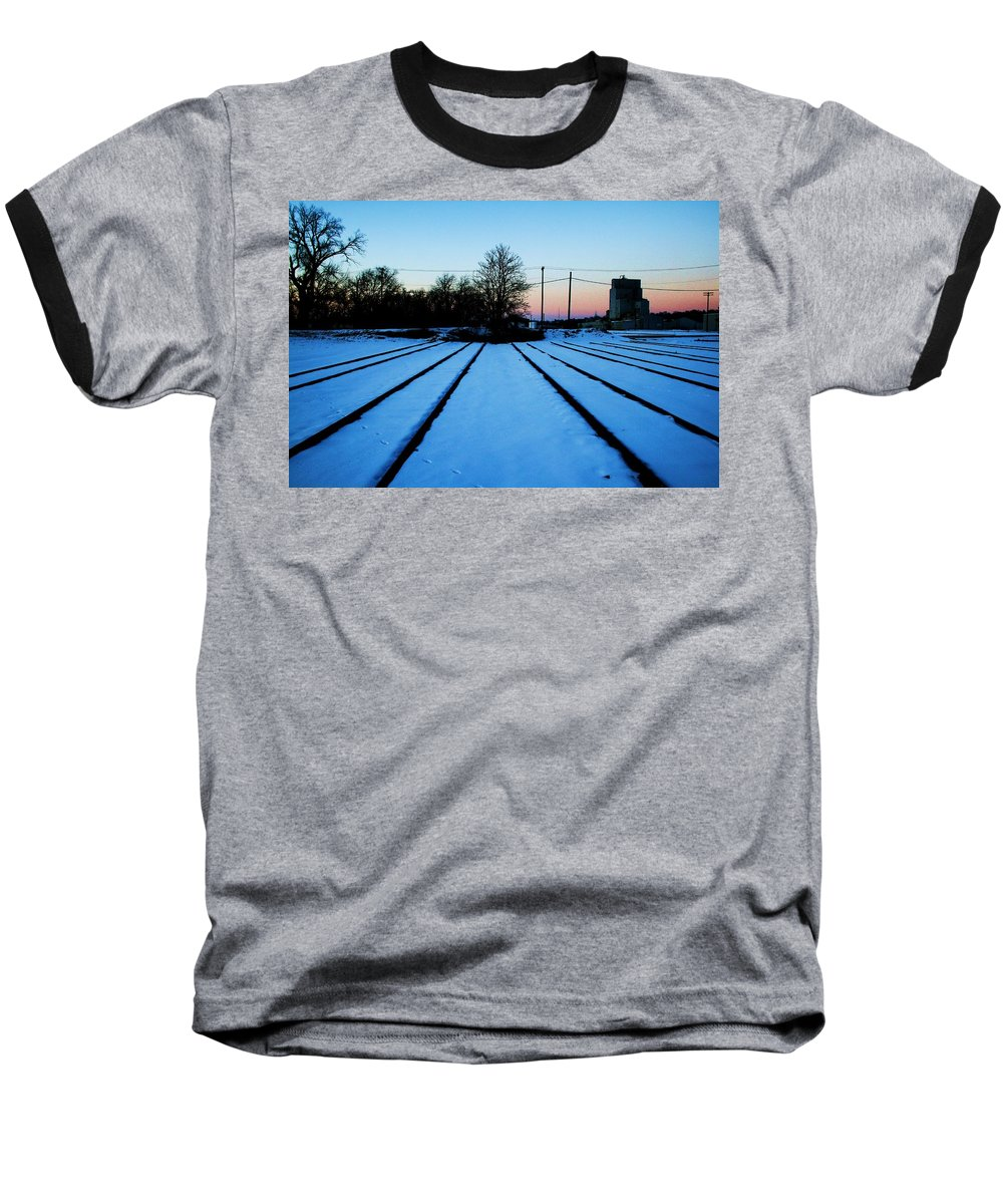 Sunset Baseball T-Shirt featuring the photograph End Of The Tracks by Angus Hooper Iii
