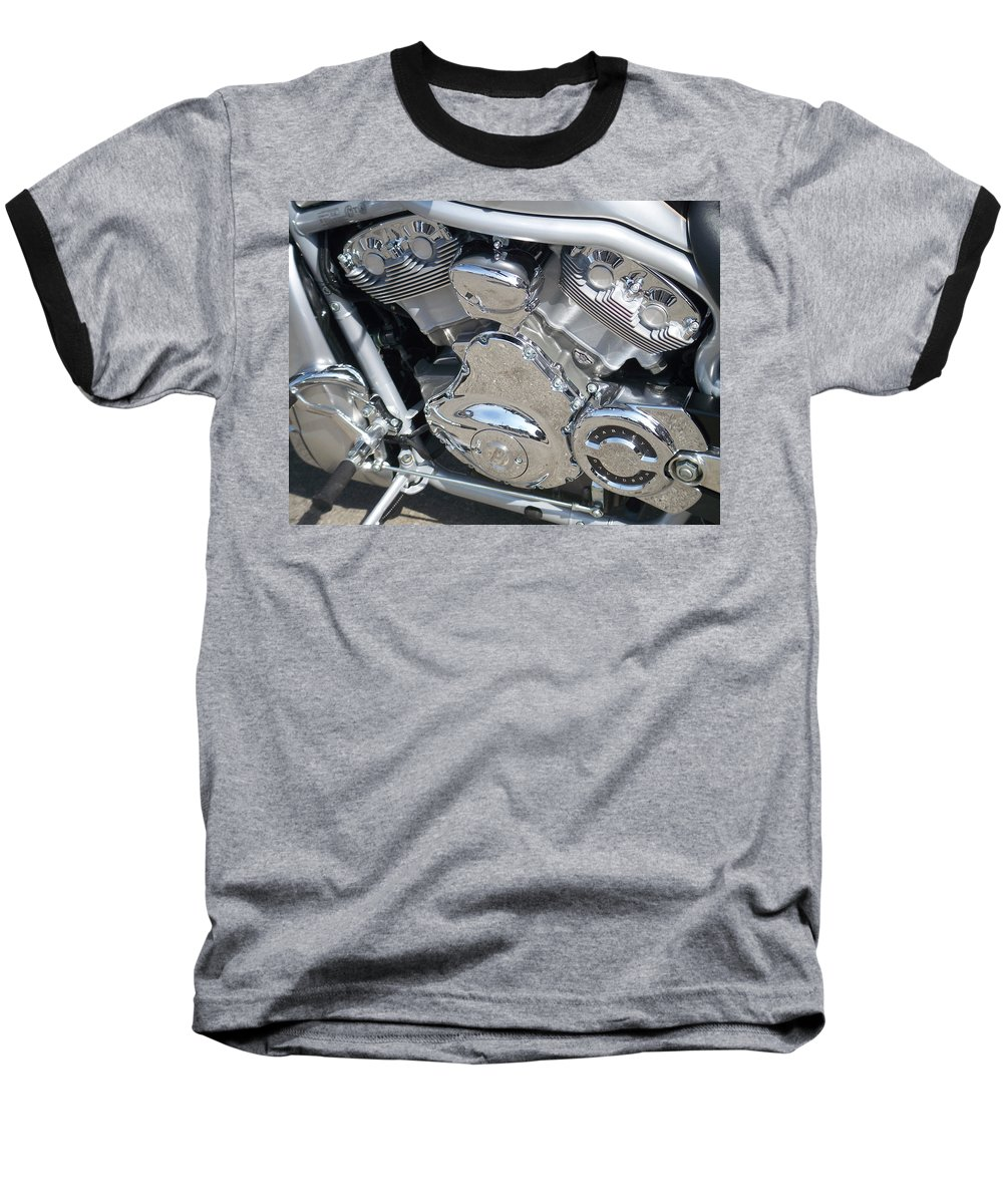 Motorcycle Baseball T-Shirt featuring the photograph Engine Close-up 2 by Anita Burgermeister