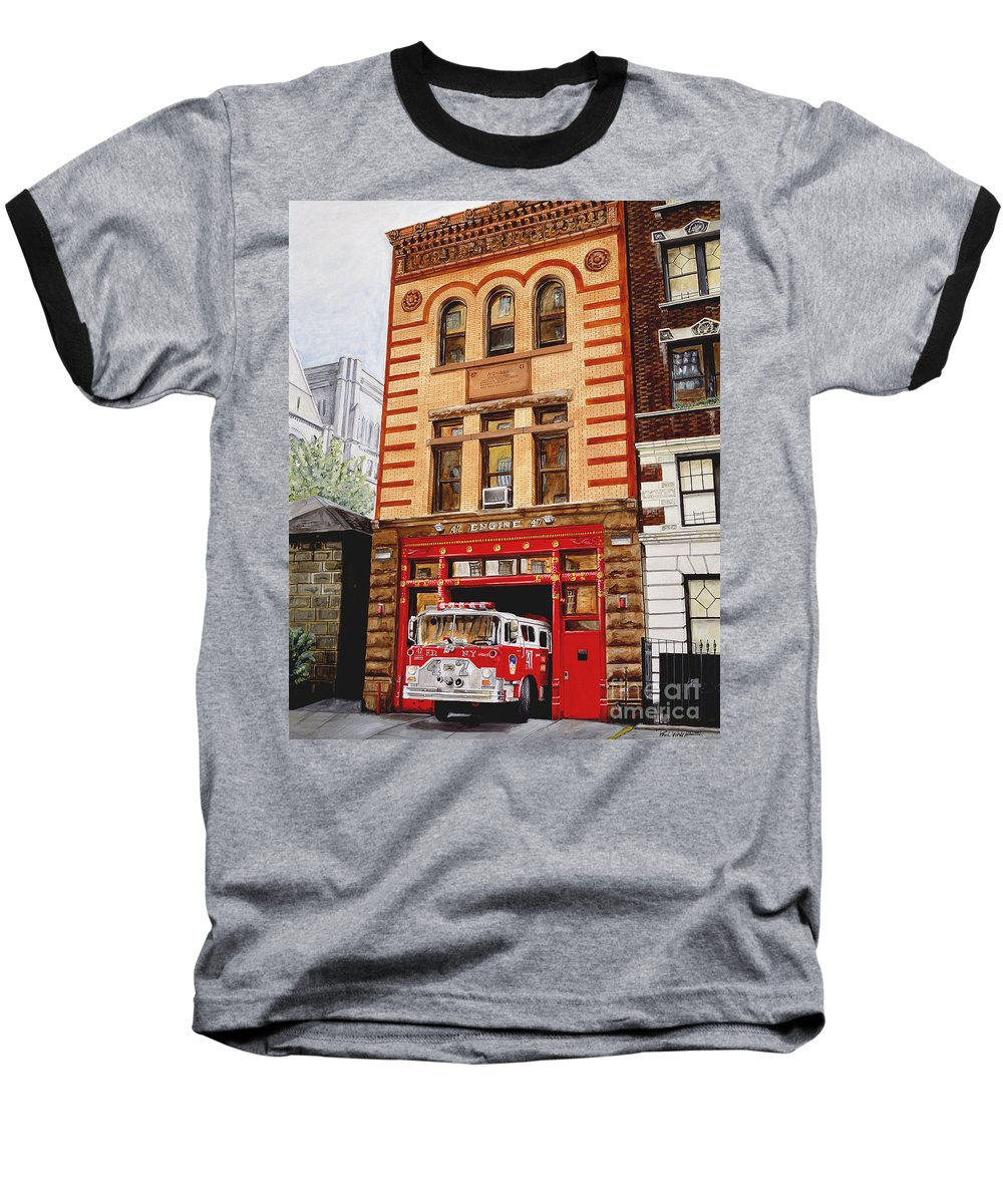 Firehouse Baseball T-Shirt featuring the painting Engine Company 47 by Paul Walsh