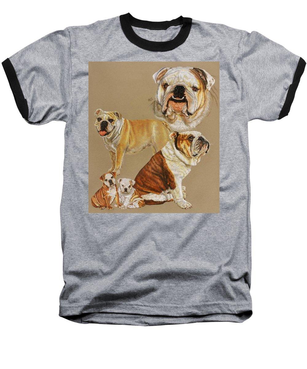Purebred Baseball T-Shirt featuring the drawing English Bulldog by Barbara Keith