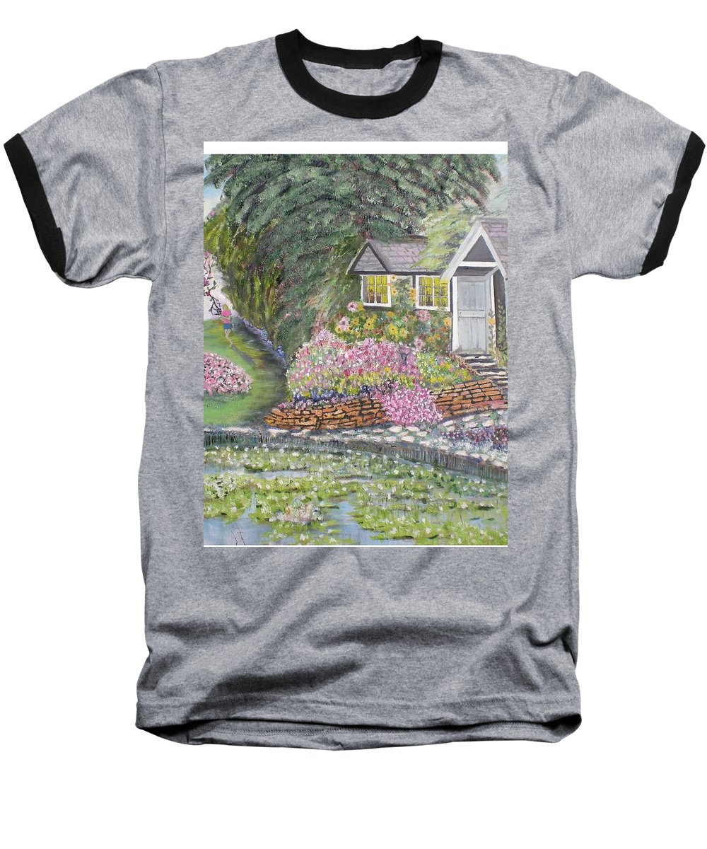 Cottage Baseball T-Shirt featuring the painting English Cottage by Hal Newhouser