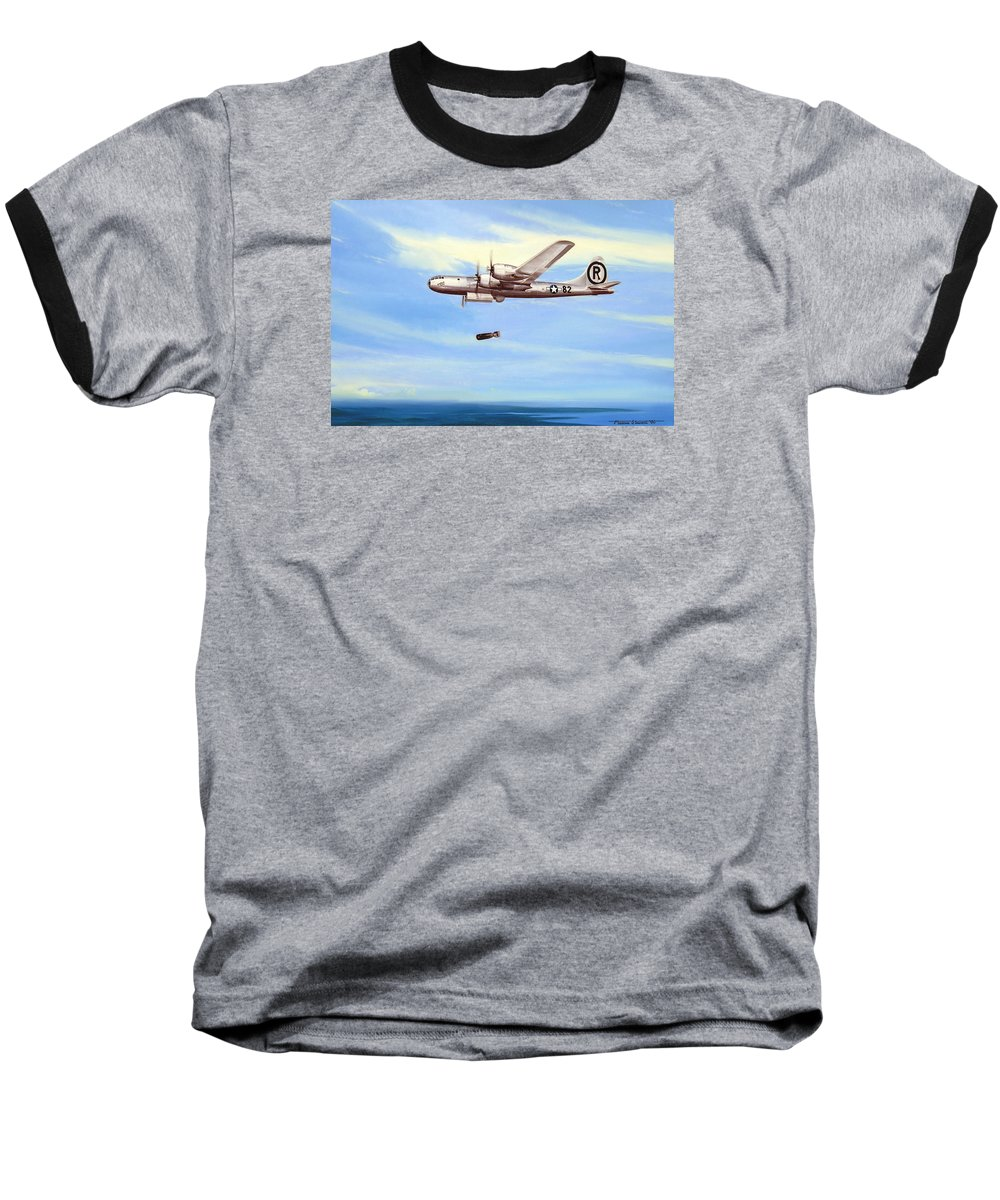 Military Baseball T-Shirt featuring the painting Enola Gay by Marc Stewart
