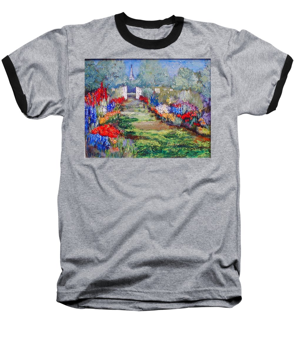 Landscape Baseball T-Shirt featuring the painting Enter His Gates by Gail Kirtz