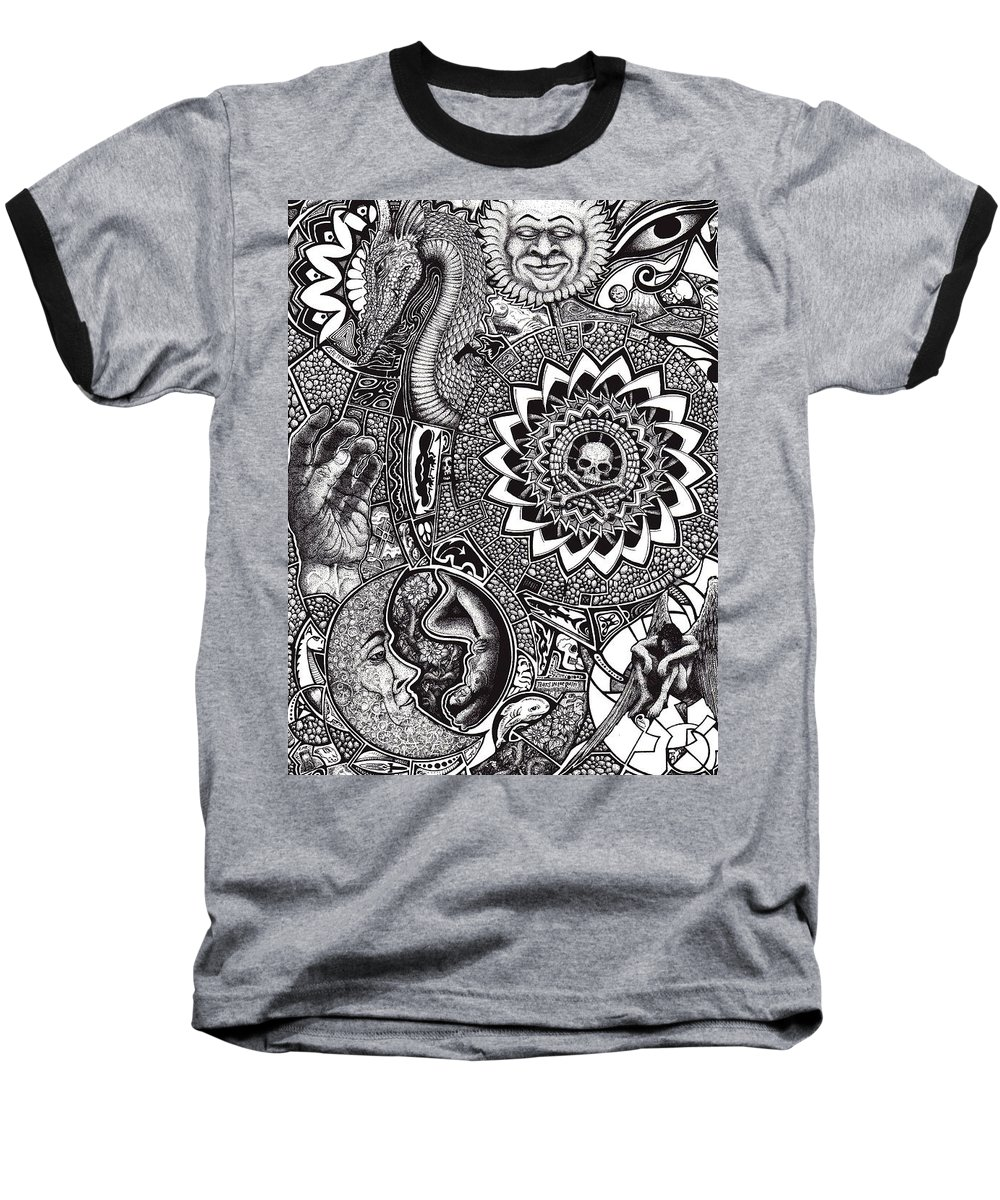 Black And White Baseball T-Shirt featuring the drawing Epiphany by Tobey Anderson