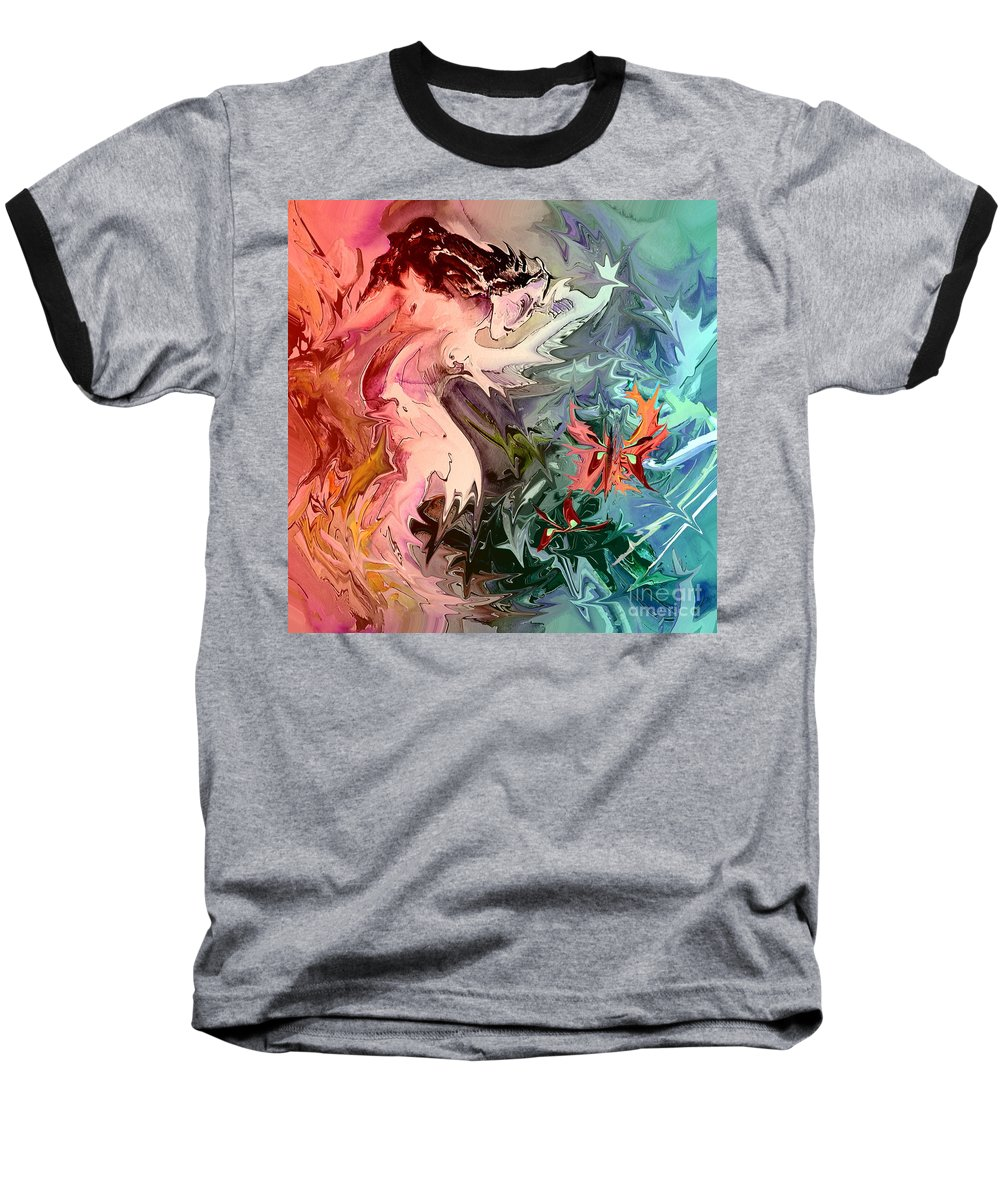 Miki Baseball T-Shirt featuring the painting Eroscape 08 1 by Miki De Goodaboom