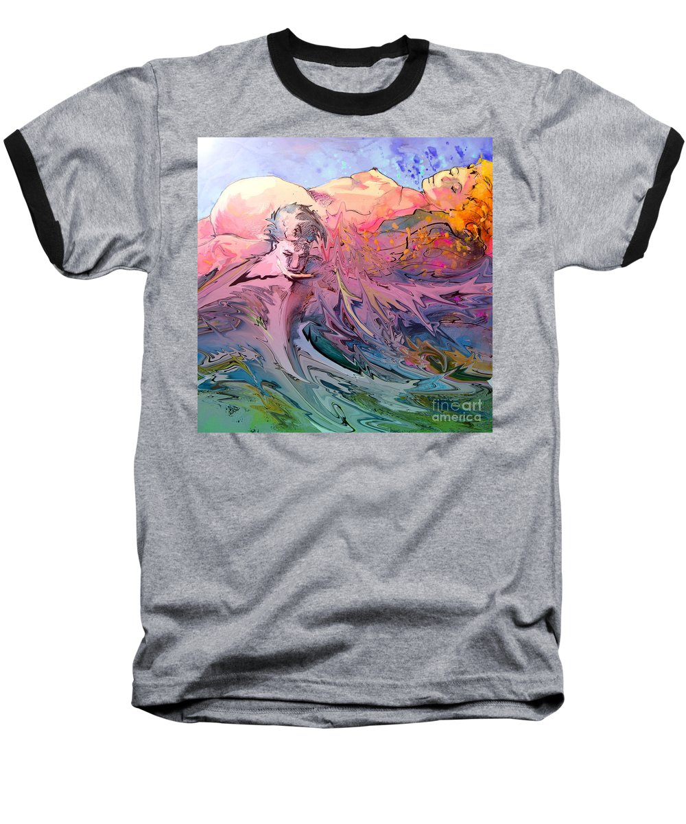 Miki Baseball T-Shirt featuring the painting Eroscape 10 by Miki De Goodaboom