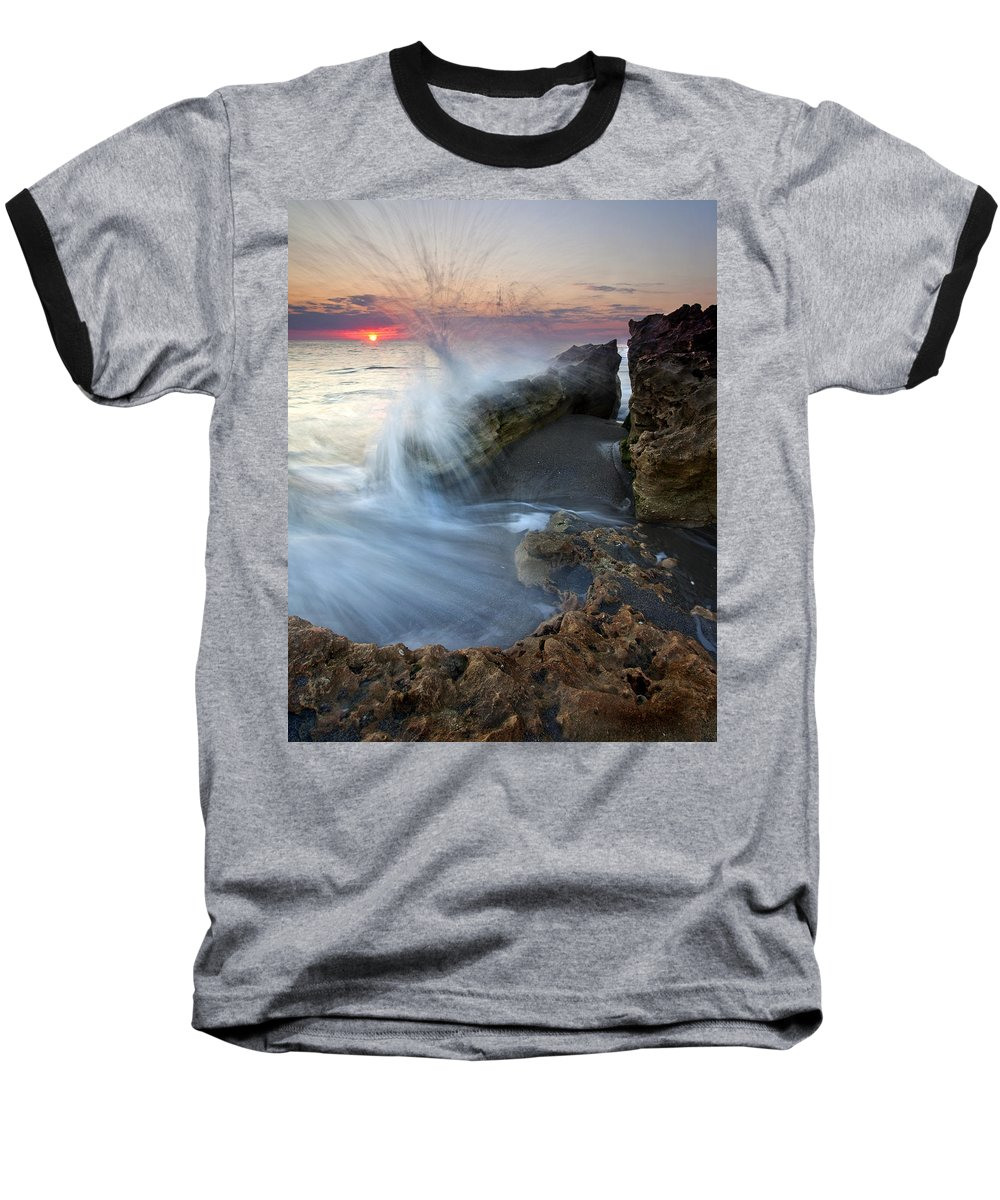 Blowing Rocks Baseball T-Shirt featuring the photograph Eruption At Dawn by Mike Dawson
