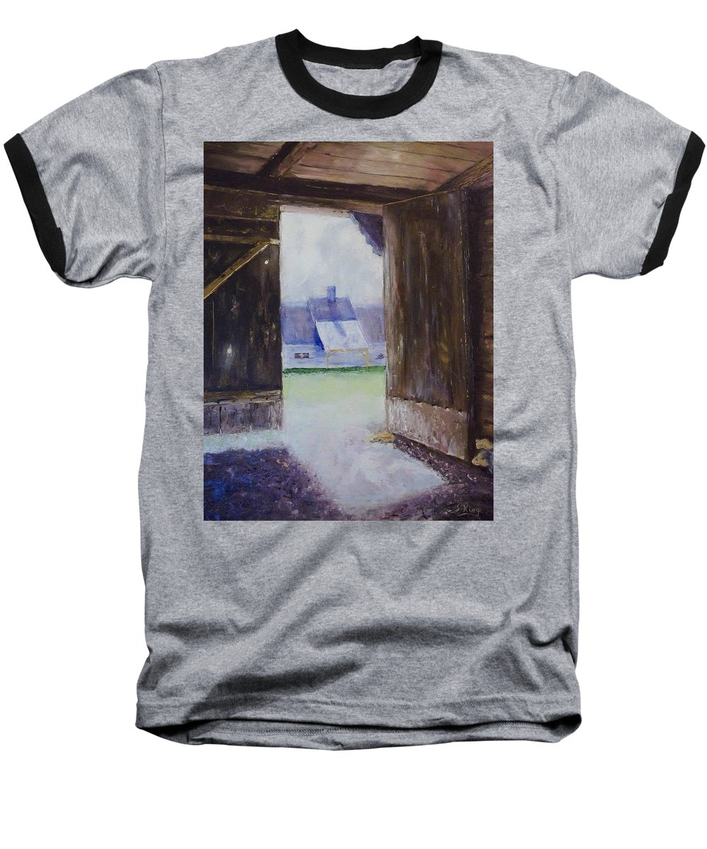 Shed Baseball T-Shirt featuring the painting Escape The Sun by Stephen King