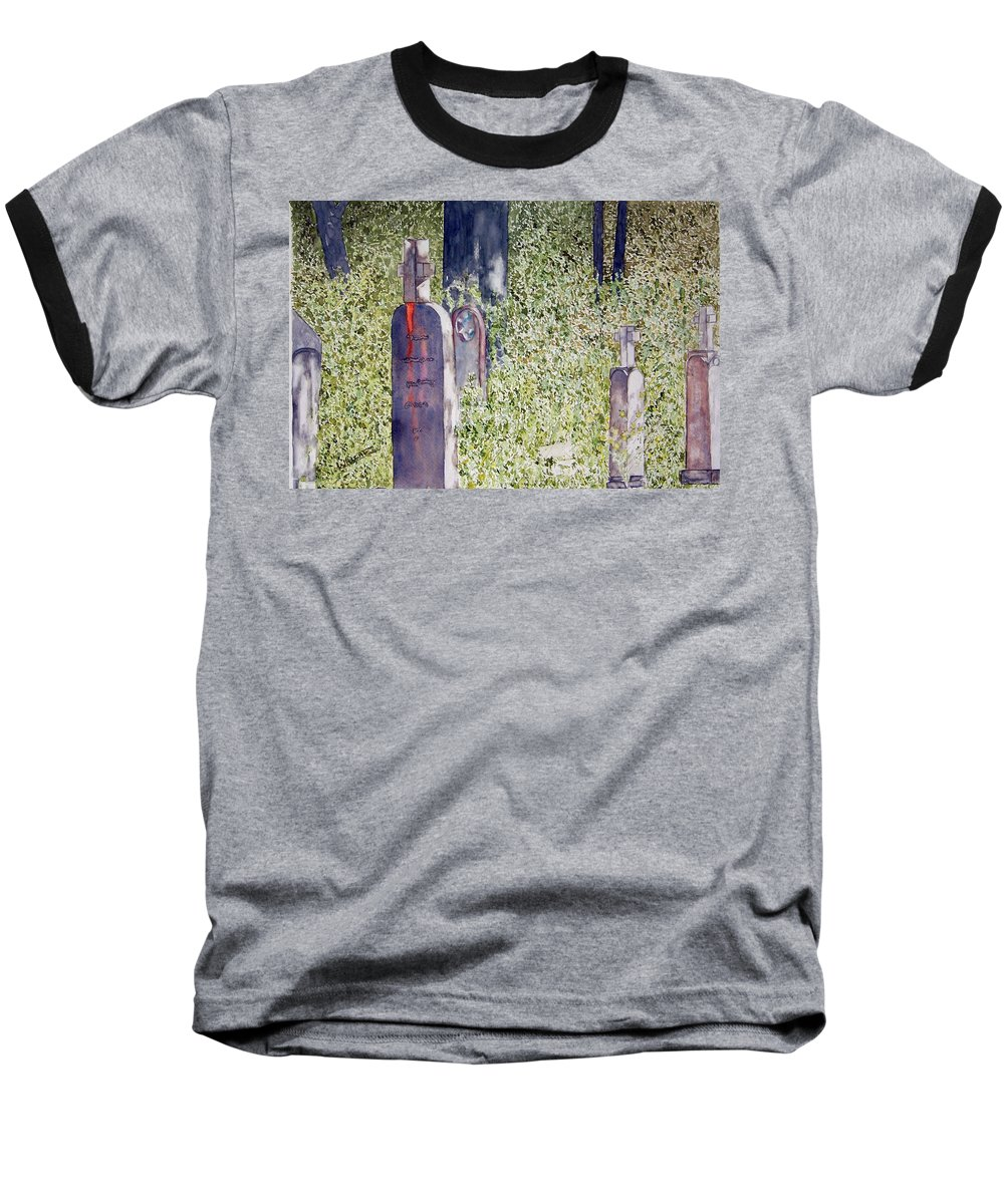 Cemeteries Baseball T-Shirt featuring the painting Eternity In Hoonah by Larry Wright