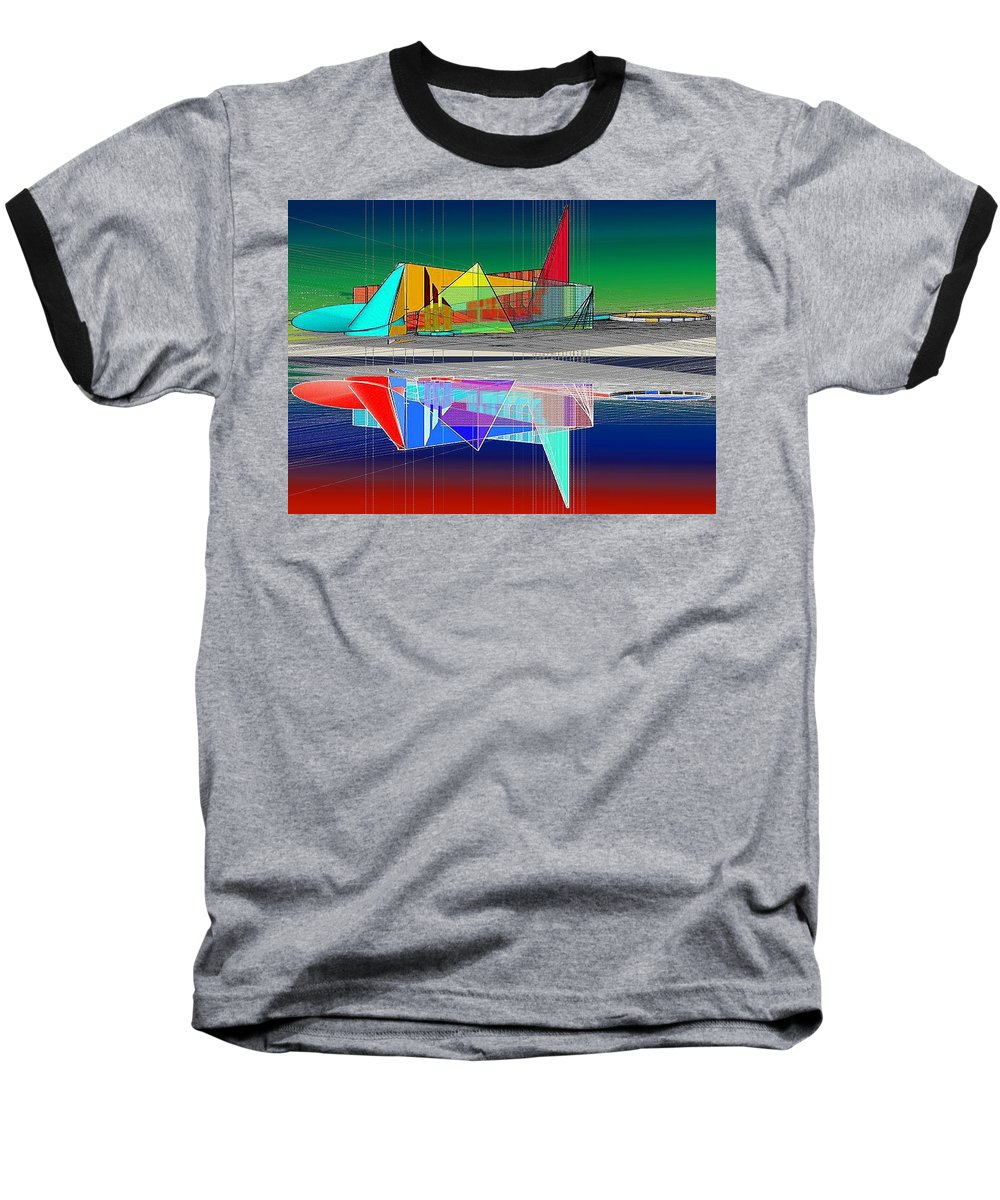 Cathedral Baseball T-Shirt featuring the digital art Ethereal Reflections by Don Quackenbush