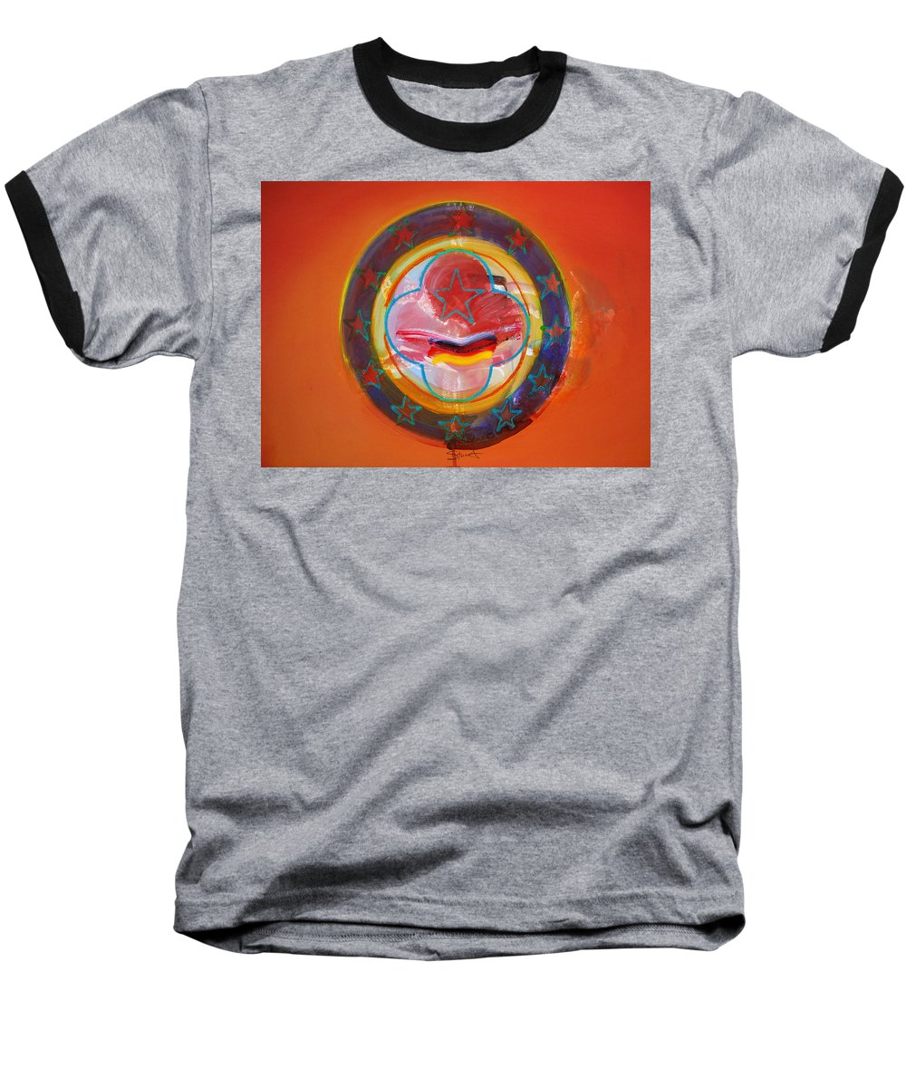 Symbol Baseball T-Shirt featuring the painting Euro Smile by Charles Stuart