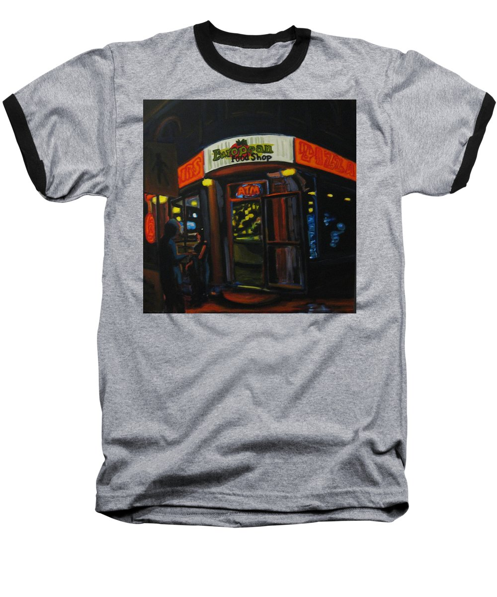 City Baseball T-Shirt featuring the painting European Food Shop by John Malone