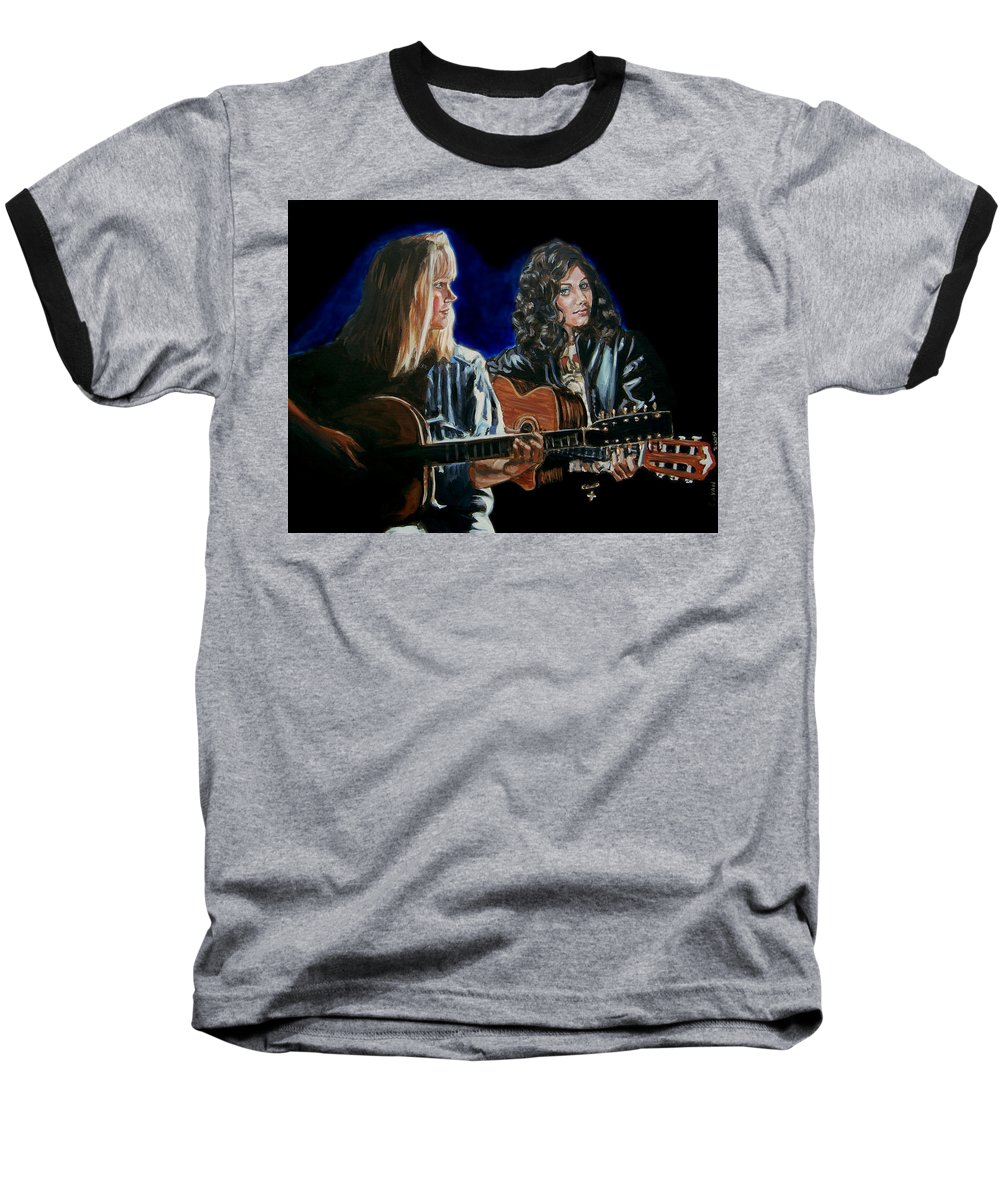Katie Melua Baseball T-Shirt featuring the painting Eva Cassidy And Katie Melua by Bryan Bustard