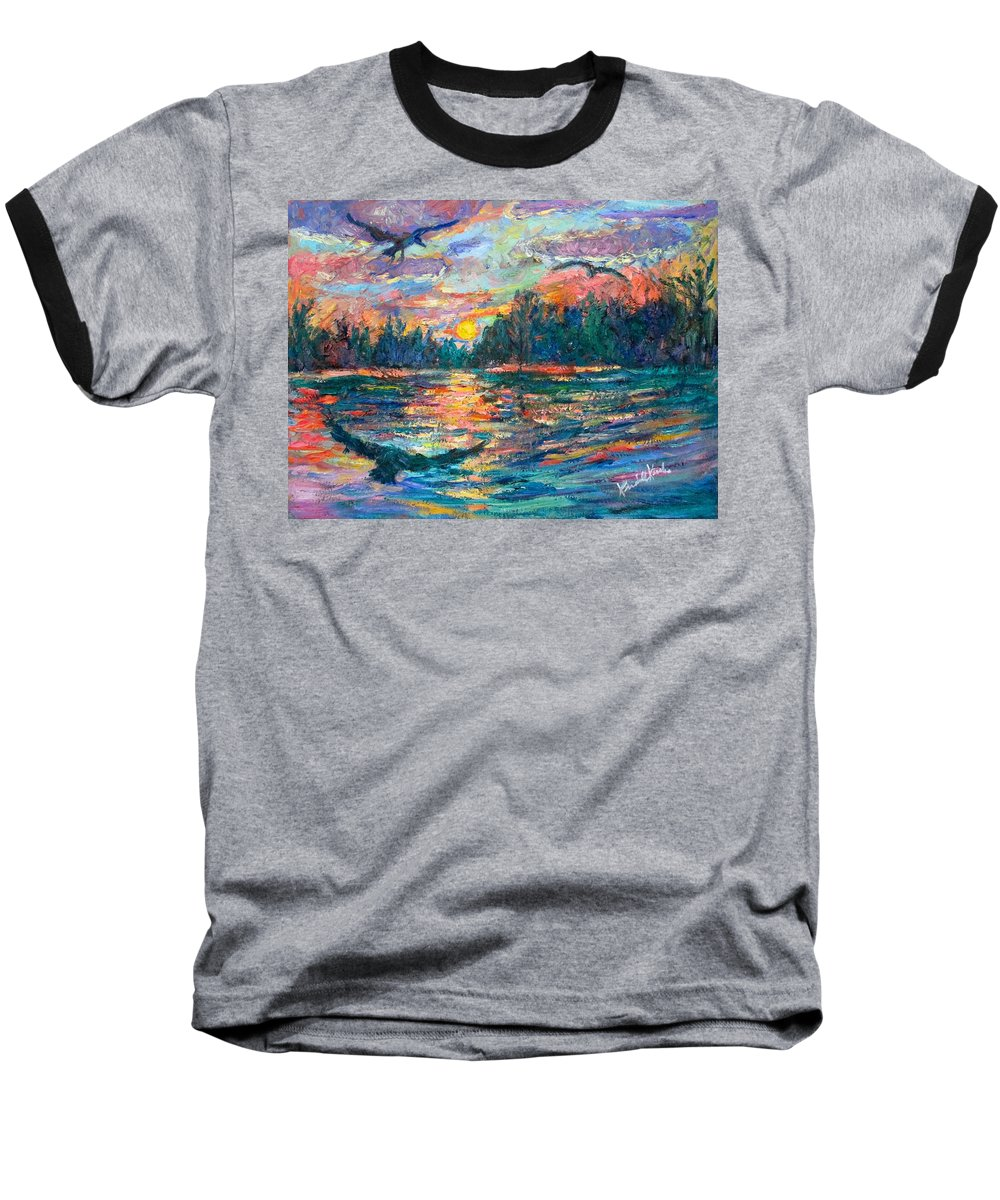 Landscape Baseball T-Shirt featuring the painting Evening Flight by Kendall Kessler