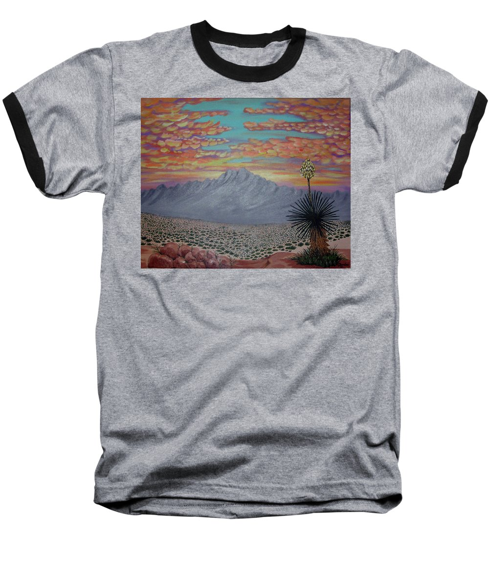 Desertscape Baseball T-Shirt featuring the painting Evening In The Desert by Marco Morales