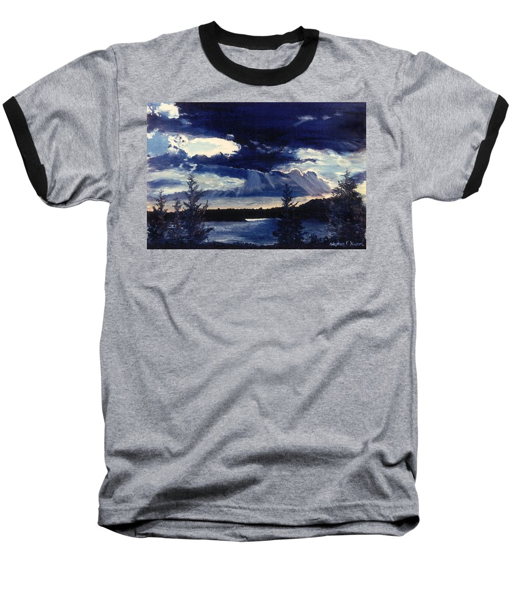 Landscape Baseball T-Shirt featuring the painting Evening Lake by Steve Karol