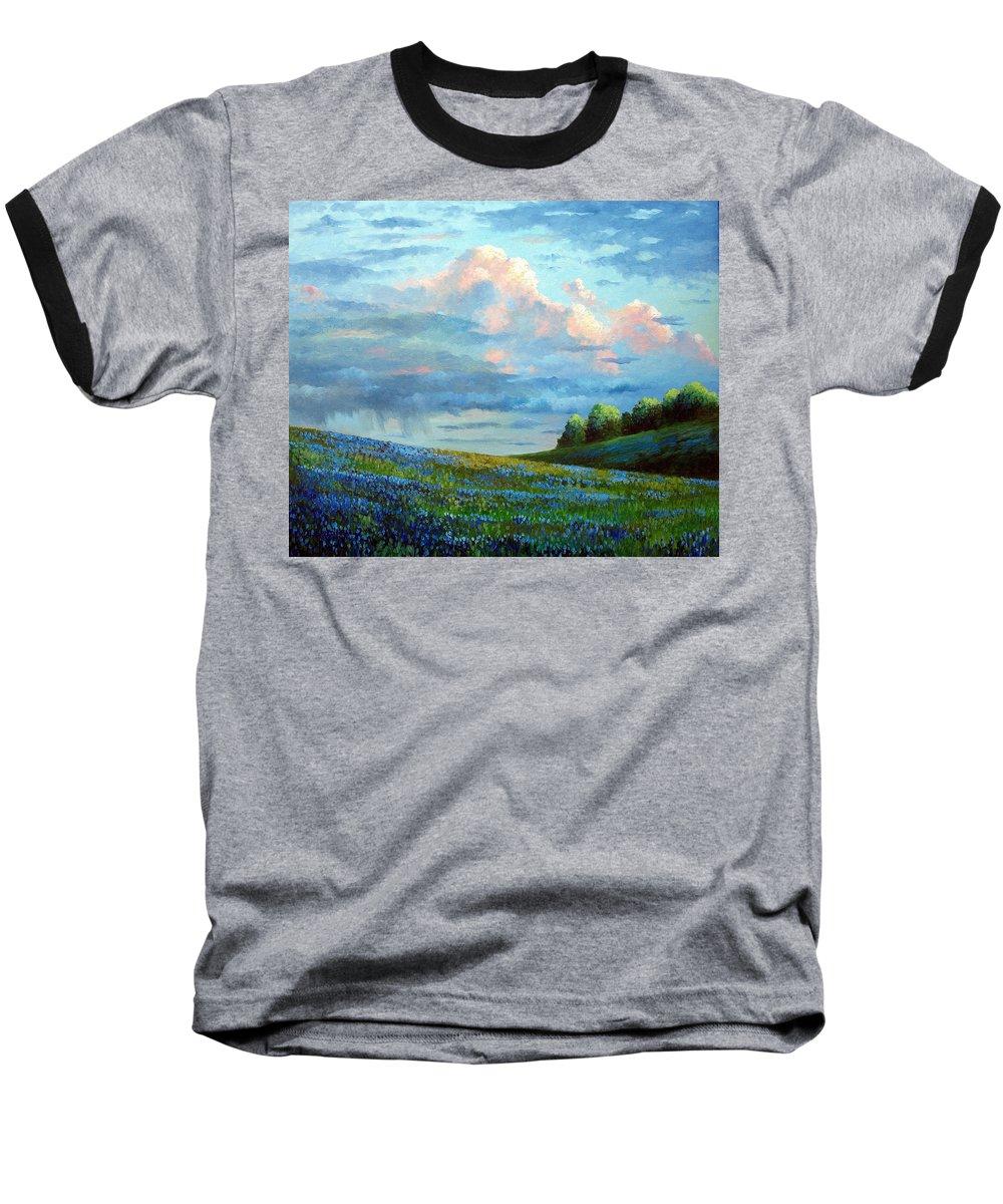 Landscape Baseball T-Shirt featuring the painting Evening Rain by David G Paul