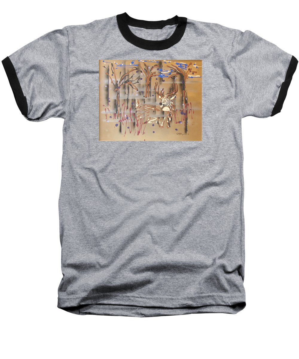Buck In Tree Line Baseball T-Shirt featuring the painting Everwatchful by J R Seymour