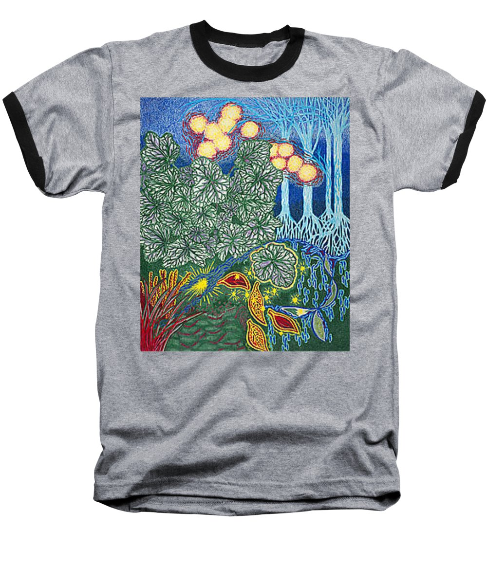 Art Baseball T-Shirt featuring the drawing Exciting Harmony Art Prints And Gifts Autumn Leaves Botanical Garden Park Plants by Baslee Troutman