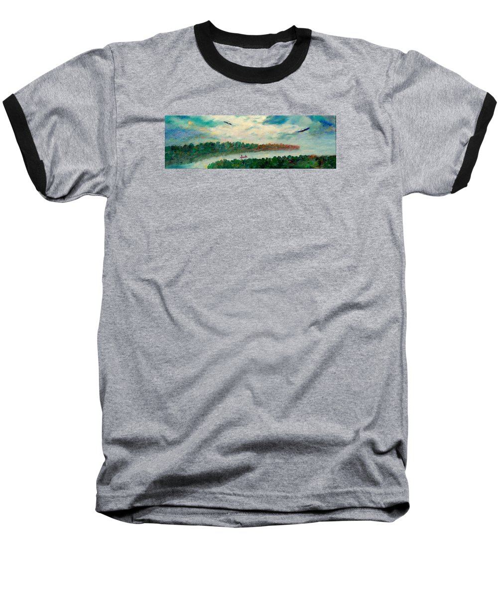 Canoeing On The Big Canadian Lakes Baseball T-Shirt featuring the painting Exploring Our Lake by Naomi Gerrard