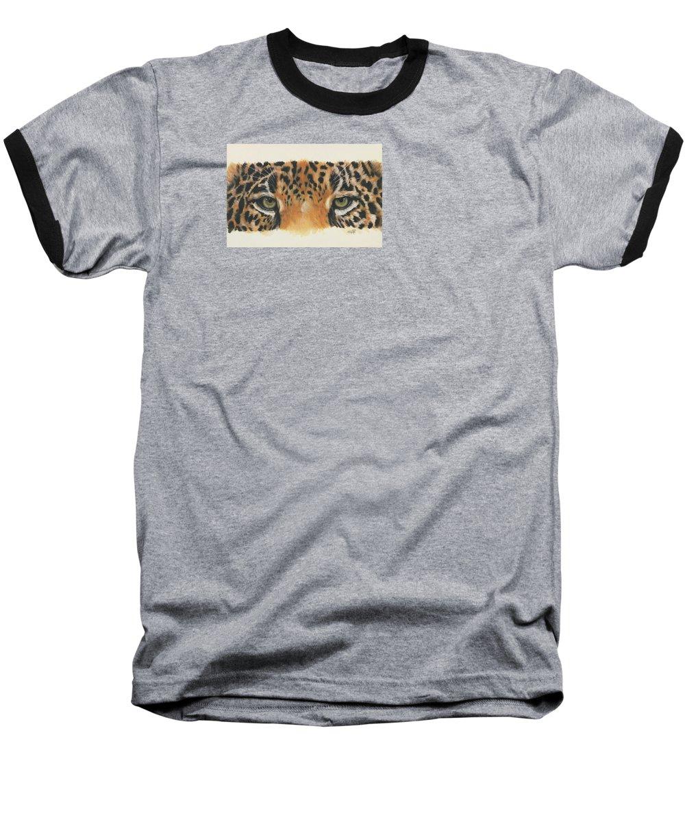 Big Cat Baseball T-Shirt featuring the painting Eye-catching Jaguar by Barbara Keith