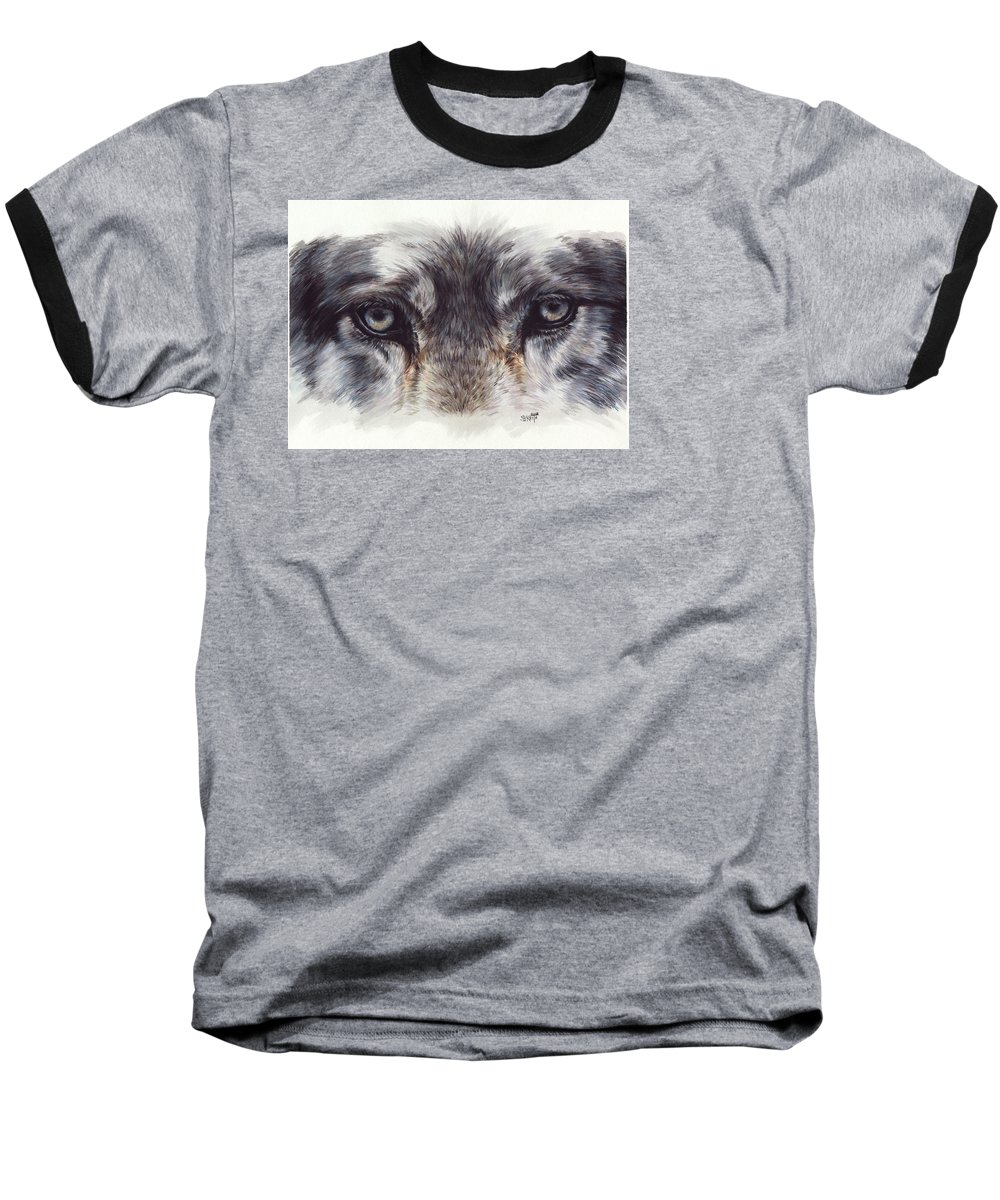 Wolf Baseball T-Shirt featuring the painting Eye-catching Wolf by Barbara Keith