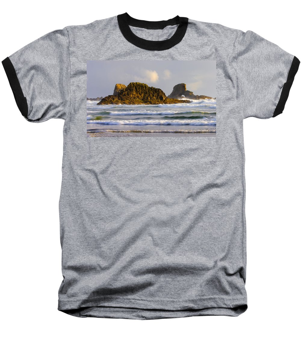 Seastacks Baseball T-Shirt featuring the photograph Eye Of The Storm by Mike Dawson