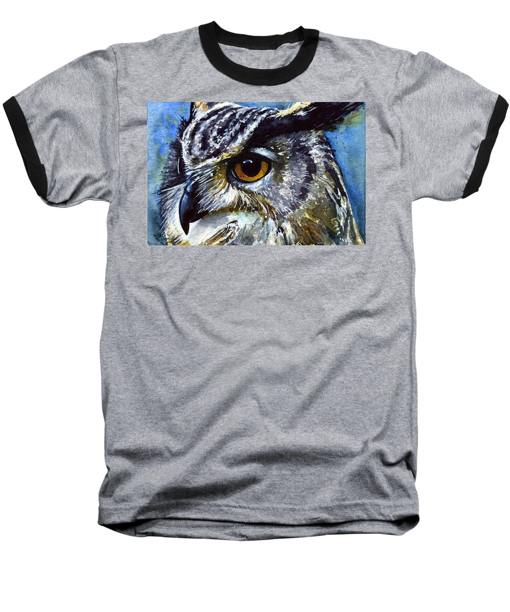 Owls Baseball T-Shirt featuring the painting Eyes Of Owls No.25 by John D Benson