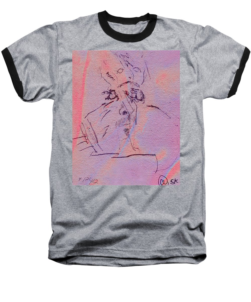 Abstract Baseball T-Shirt featuring the mixed media Faces Of Trivia by Steve Karol