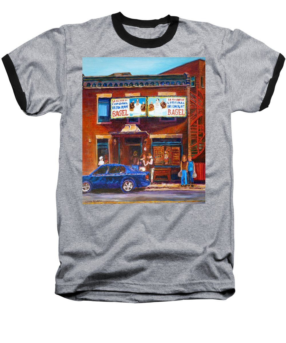 Fairmount Bagel Baseball T-Shirt featuring the painting Fairmount Bagel With Blue Car by Carole Spandau