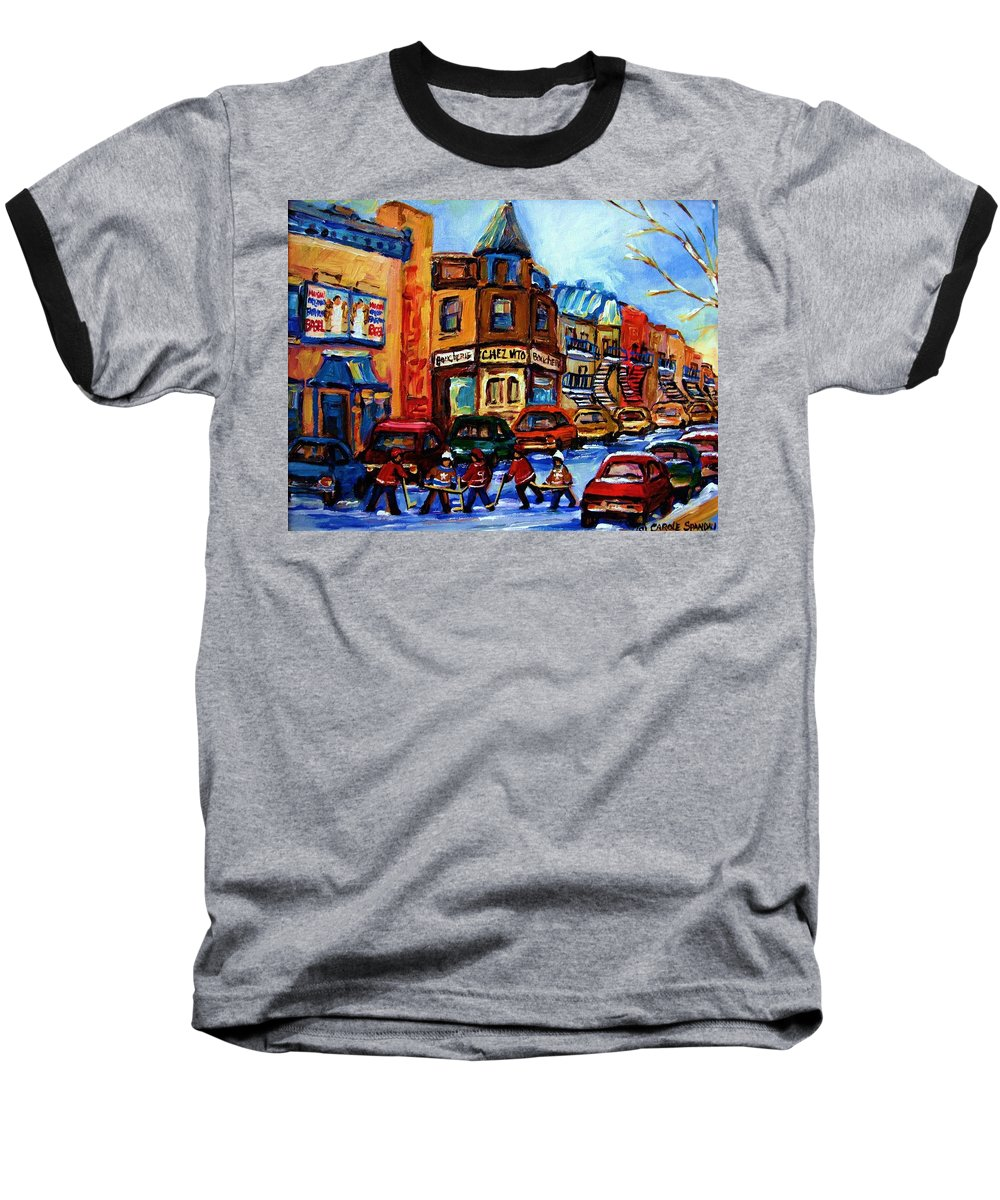Hockey Baseball T-Shirt featuring the painting Fairmount Bagel With Hockey Game by Carole Spandau