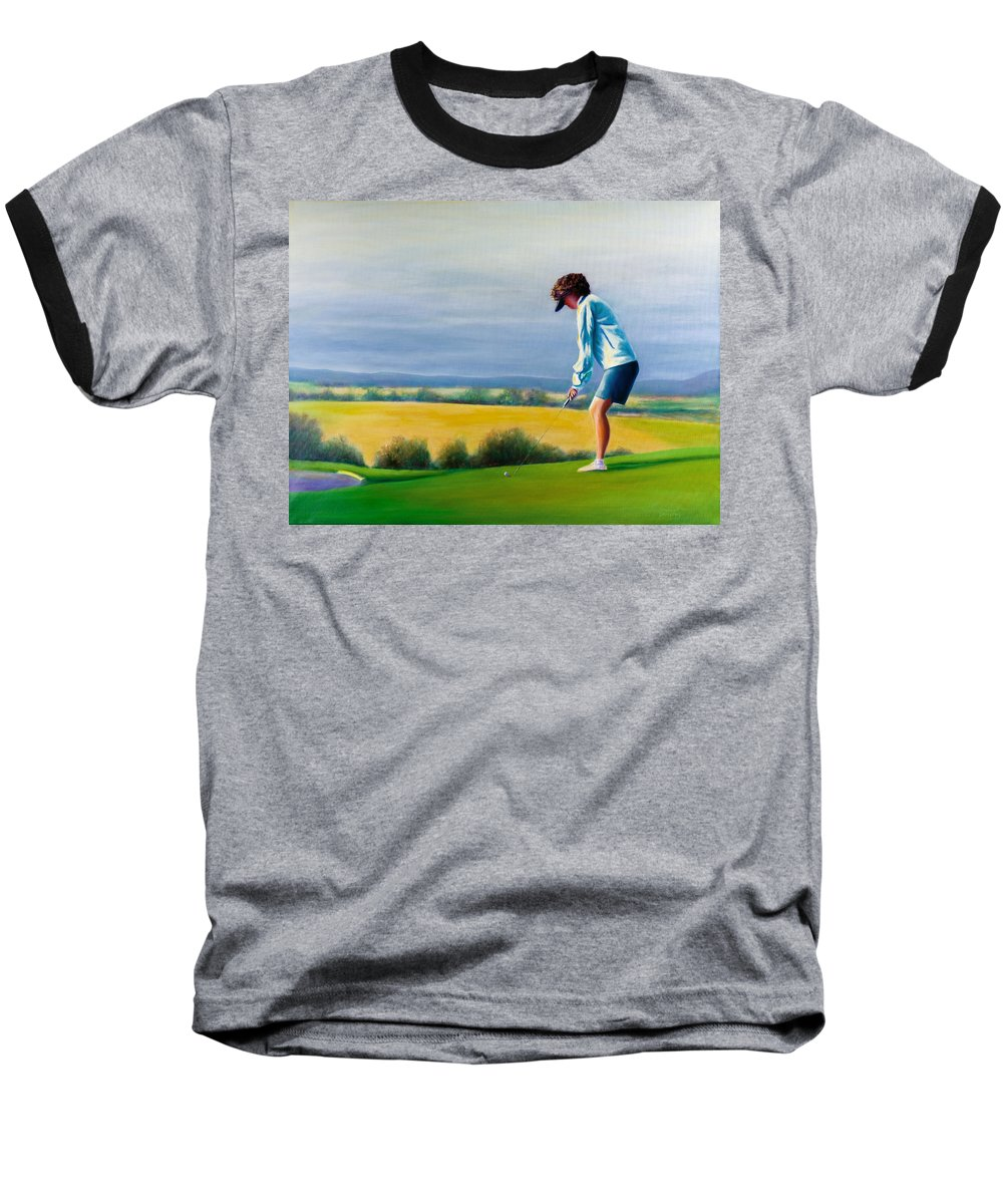 Golfer Baseball T-Shirt featuring the painting Fairy Golf Mother by Shannon Grissom