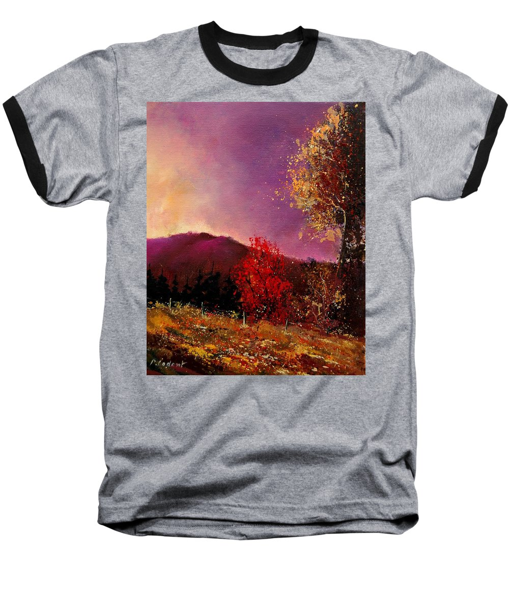 River Baseball T-Shirt featuring the painting Fall Colors by Pol Ledent