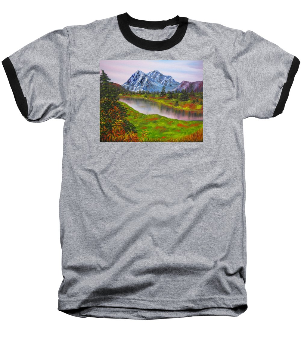 Fall Baseball T-Shirt featuring the painting Fall In Mountains Landscape Oil Painting by Natalja Picugina