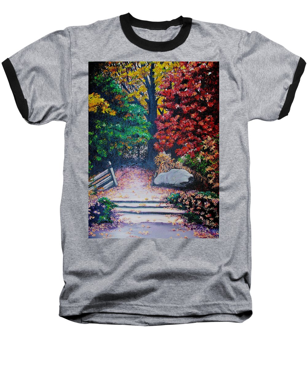 A N Original Painting Of An Autumn Scene In The Gateneau In Quebec Baseball T-Shirt featuring the painting Fall In Quebec Canada by Karin Dawn Kelshall- Best
