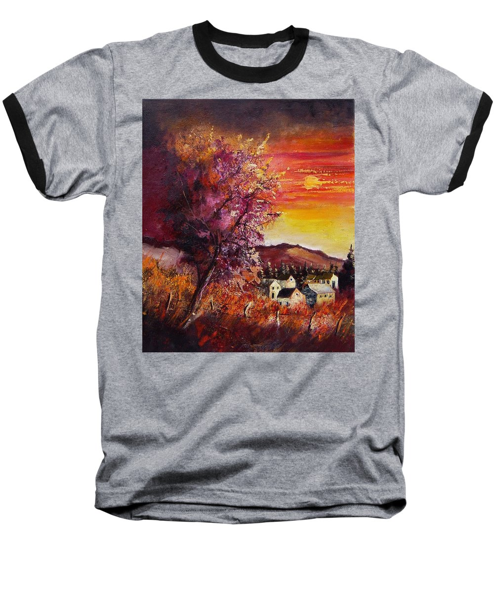 Autumn Baseball T-Shirt featuring the painting Fall In Villers by Pol Ledent