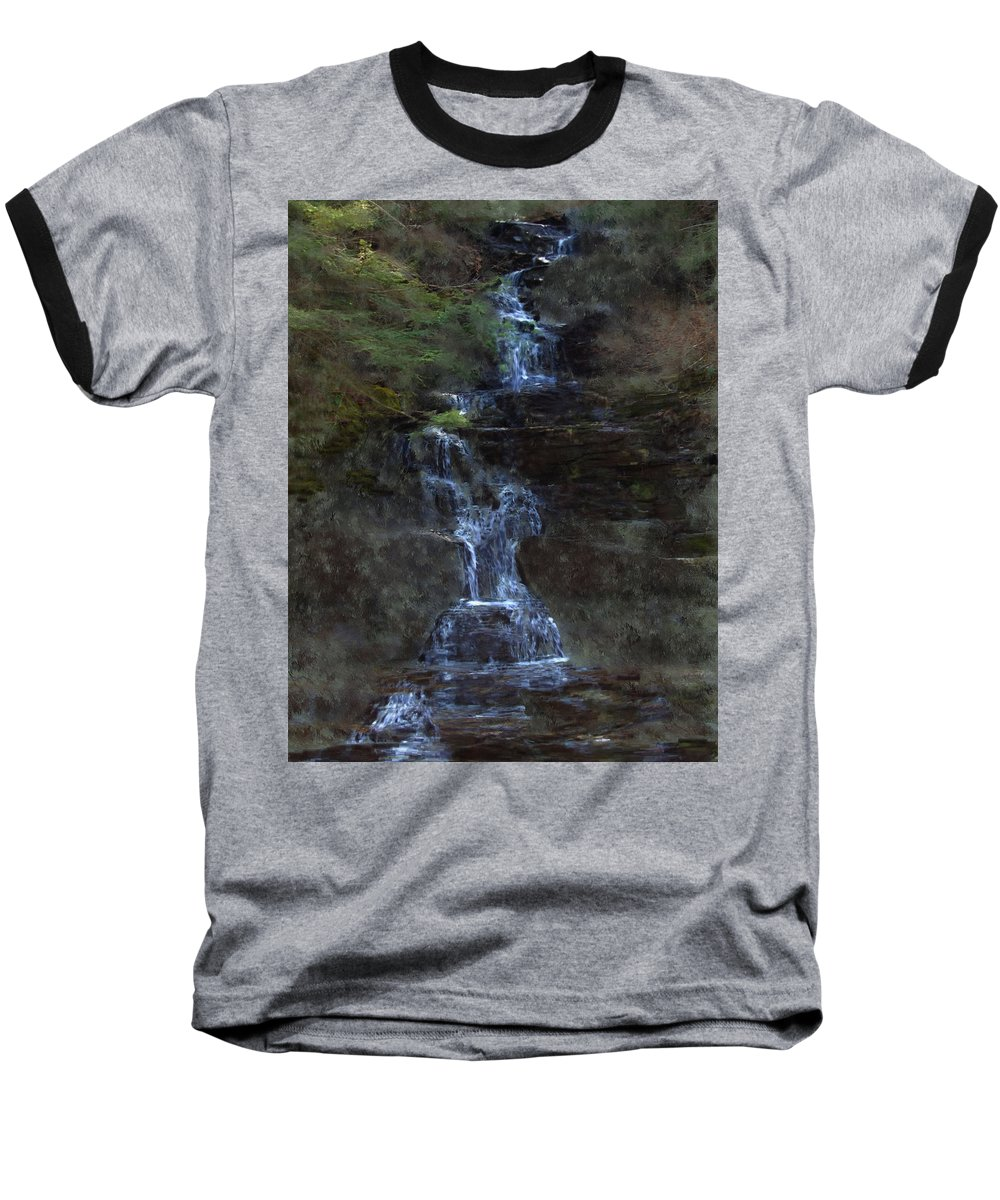 Baseball T-Shirt featuring the photograph Falls At 6 Mile Creek Ithaca N.y. by David Lane