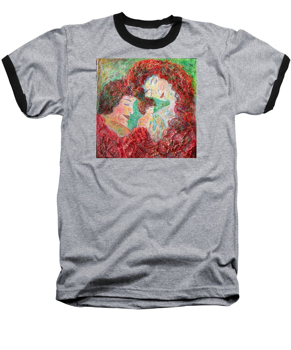 Mother Baseball T-Shirt featuring the painting Family Safety by Naomi Gerrard