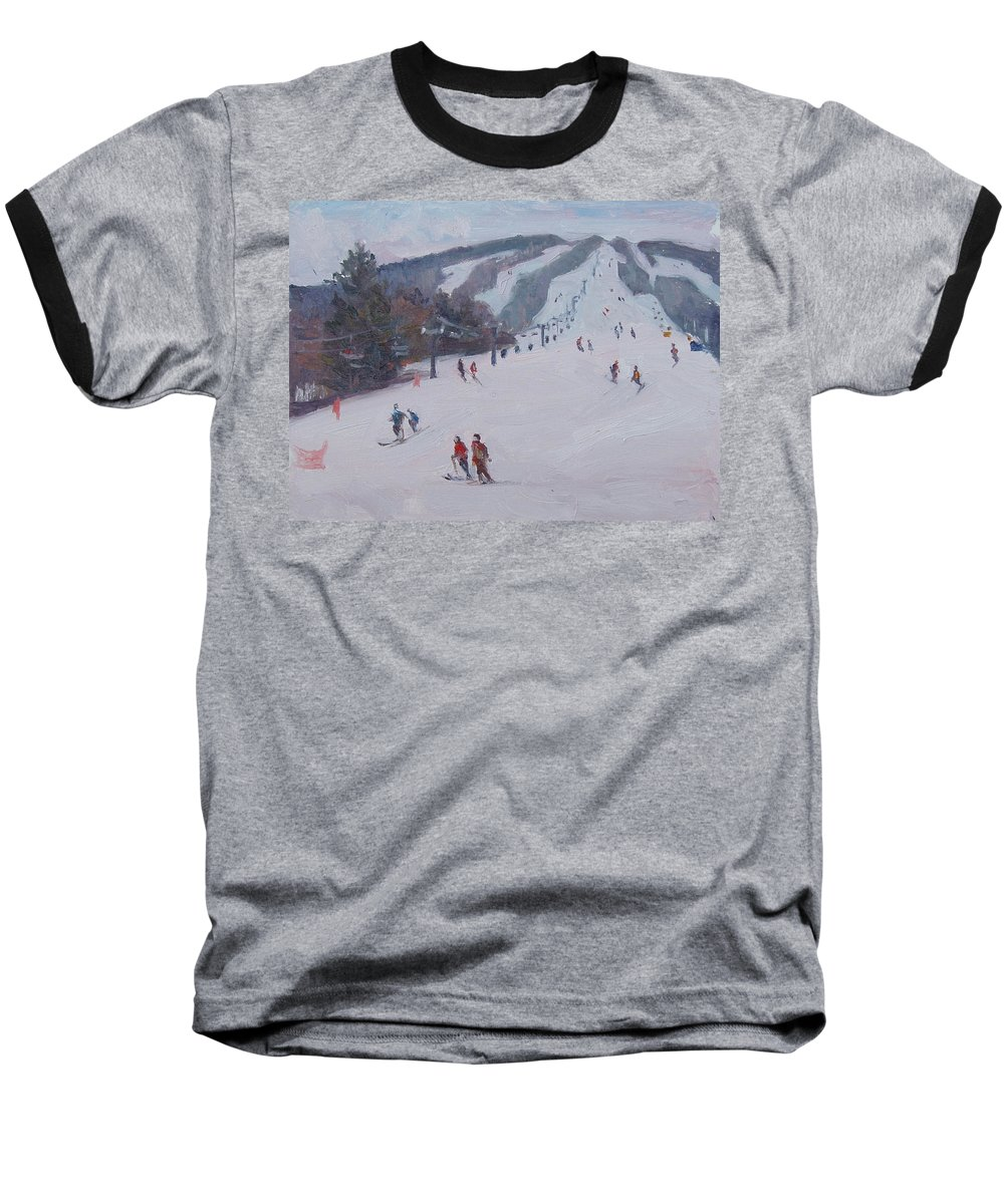 Landscape Baseball T-Shirt featuring the painting Family Ski by Dianne Panarelli Miller