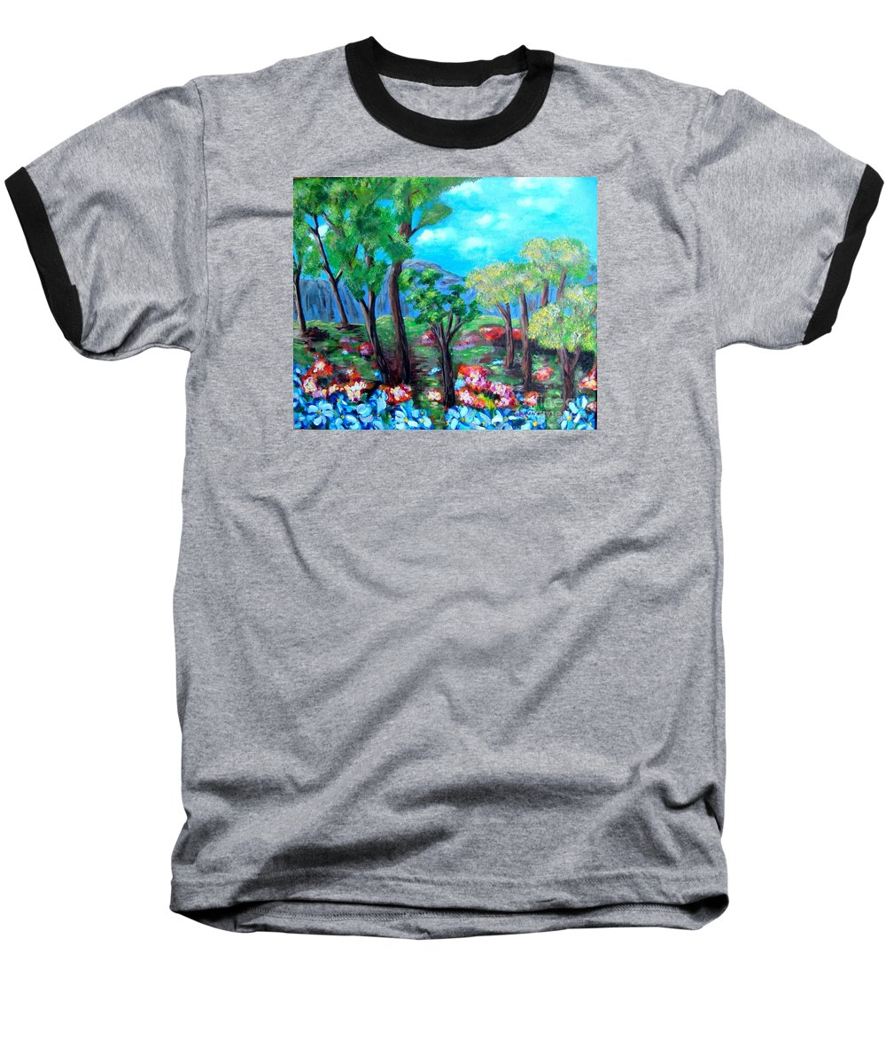 Fantasy Baseball T-Shirt featuring the painting Fantasy Forest by Laurie Morgan