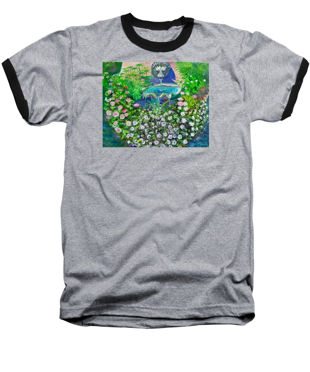 Fountain Baseball T-Shirt featuring the painting Fantasy Fountain by Michael Durst
