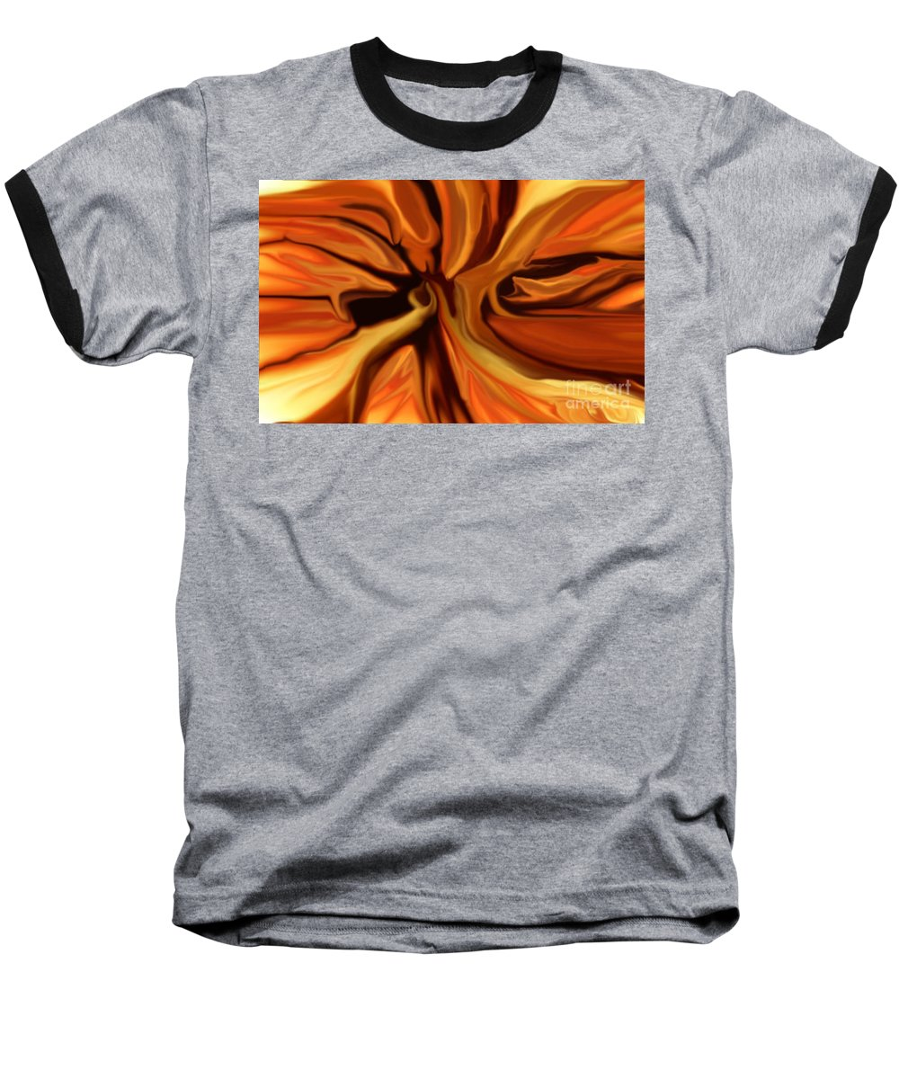 Abstract Baseball T-Shirt featuring the digital art Fantasy In Orange by David Lane