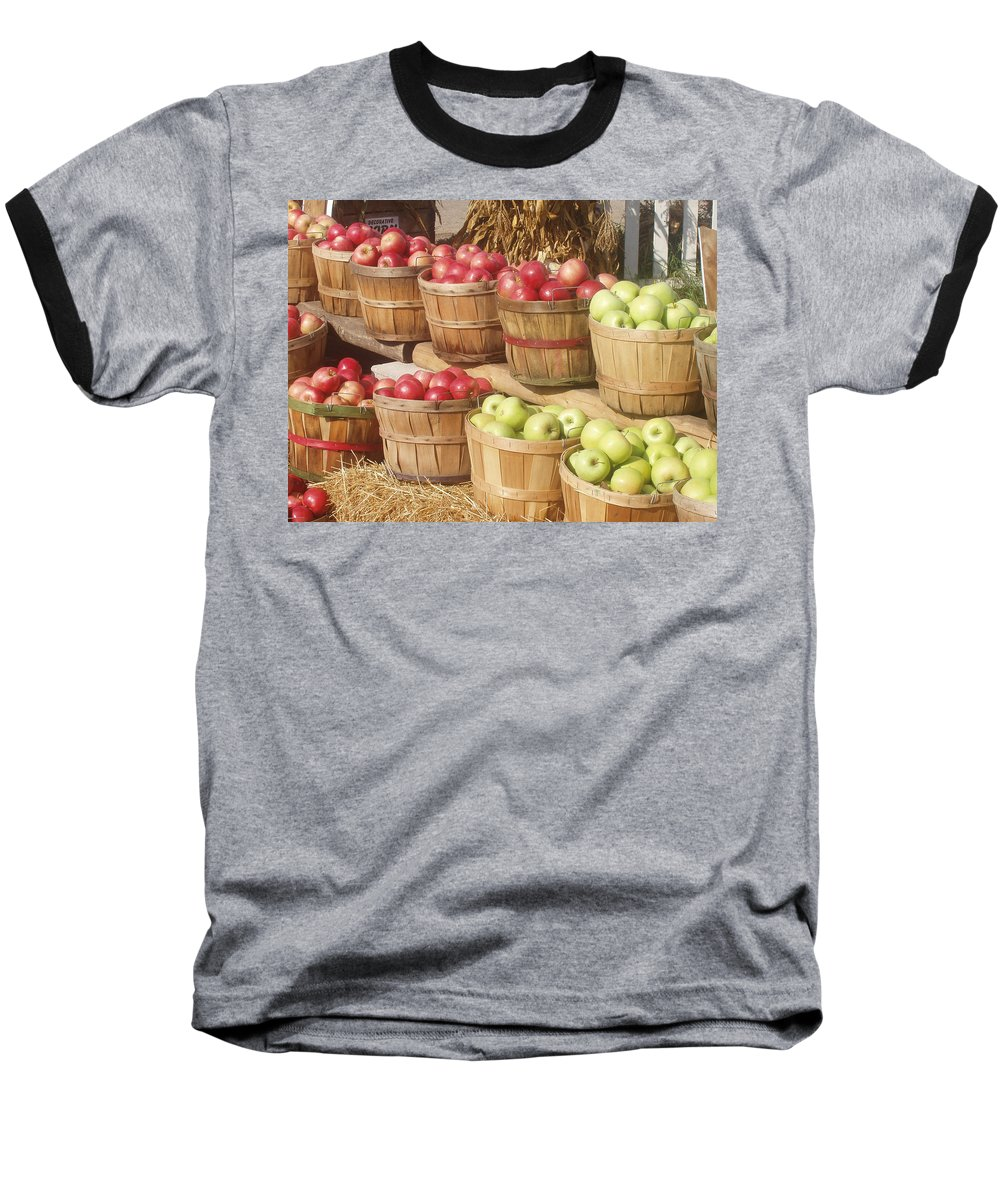 Farmers Market Baseball T-Shirt featuring the photograph Farmer's Market Apples by Wayne Potrafka