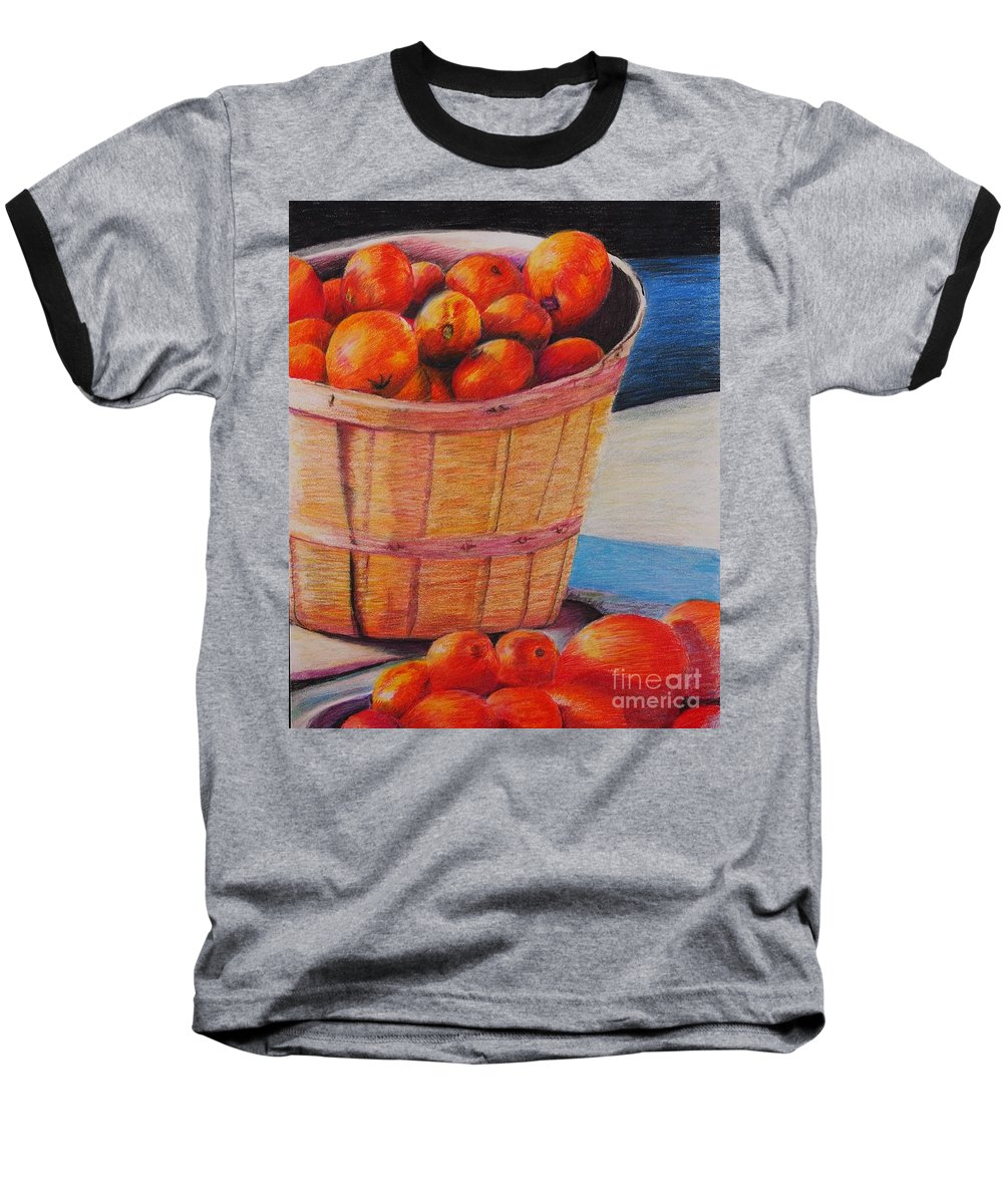 Produce In A Basket Baseball T-Shirt featuring the drawing Farmers Market Produce by Nadine Rippelmeyer