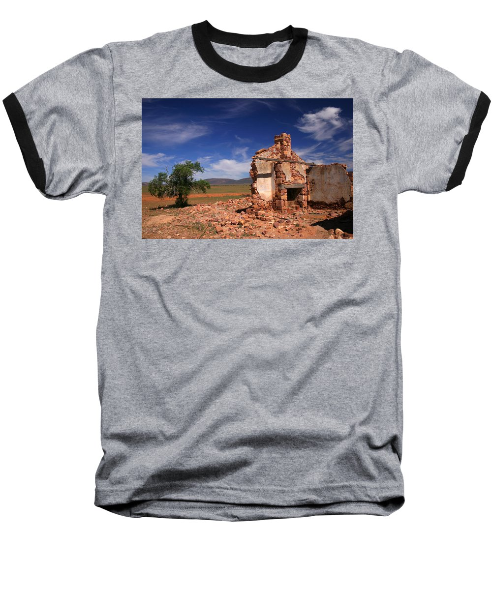 Cottage Baseball T-Shirt featuring the photograph Farmhouse Cottage Ruin Flinders Ranges South Australia by Ralph A Ledergerber-Photography