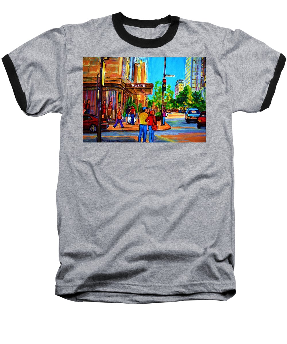 Holt Renfrew Baseball T-Shirt featuring the painting Fashionable Holt Renfrew by Carole Spandau
