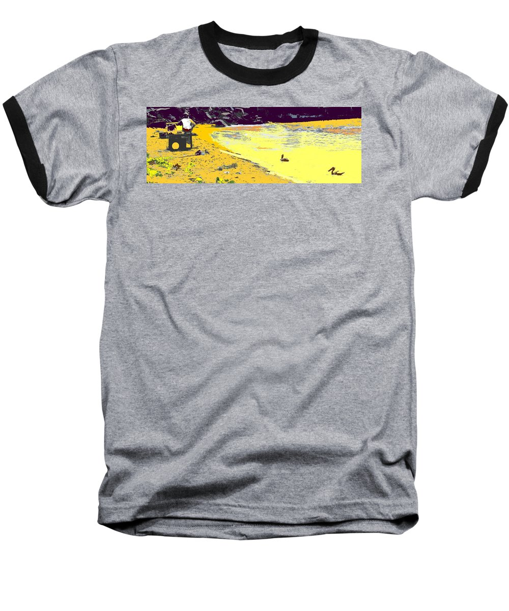 St Kitts Baseball T-Shirt featuring the photograph Feeding The Pelicans by Ian MacDonald